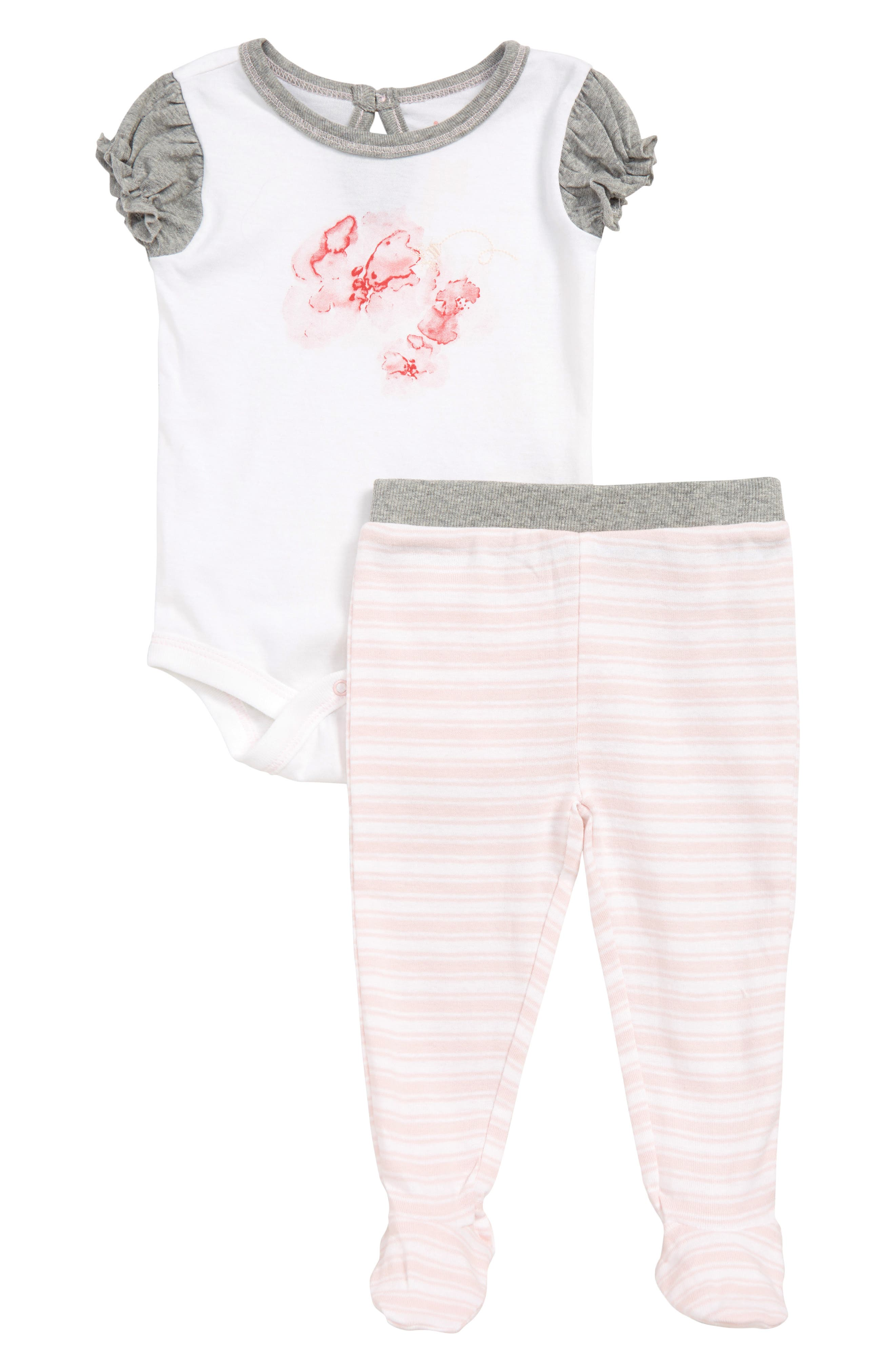 BURT'S BEES BABY,                             Butterfly Escape Organic Cotton Bodysuit & Footed Leggings Set,                             Main thumbnail 1, color,                             BLOSSOM