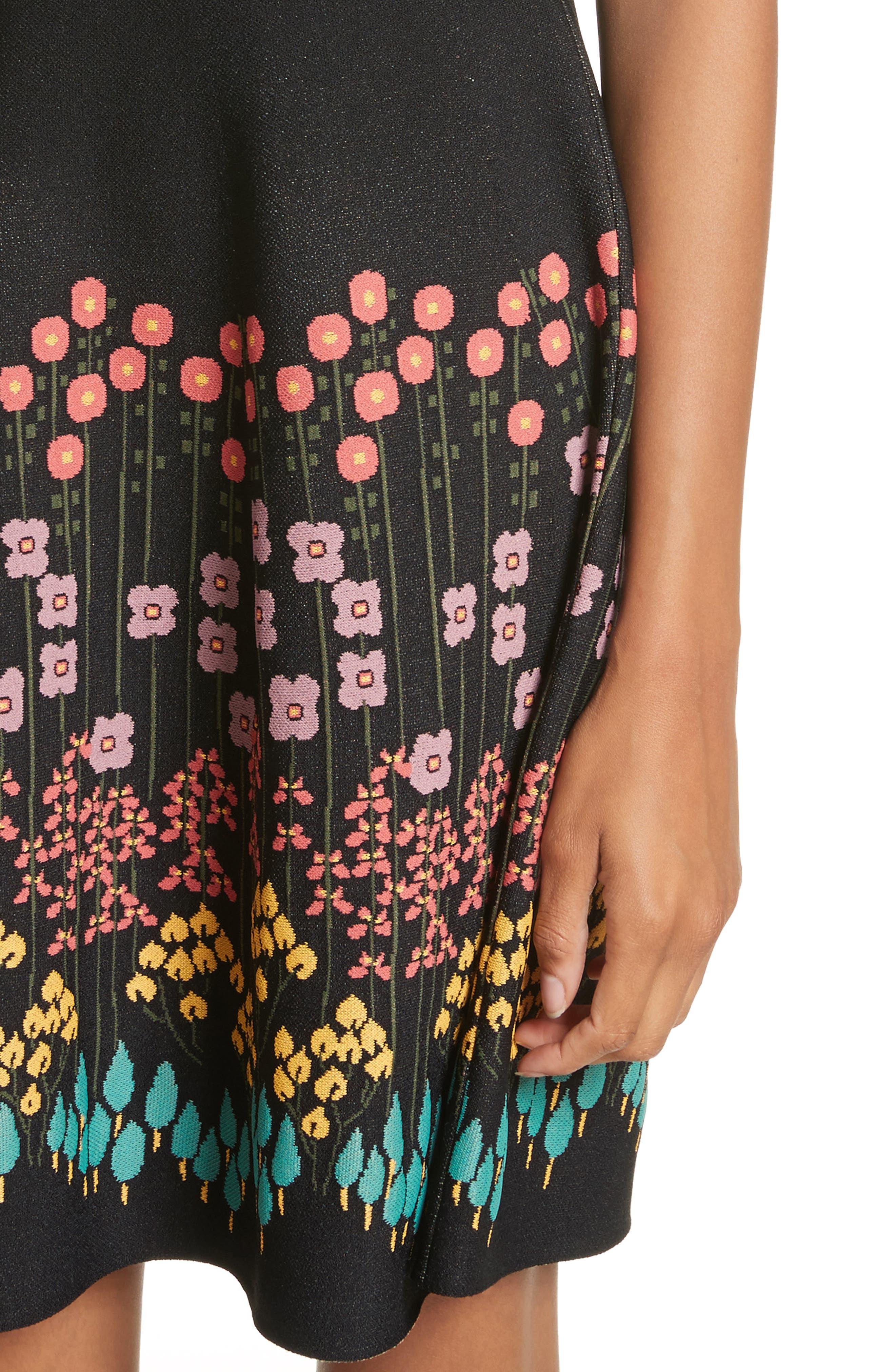 Floral Jacquard Knit Dress,                             Alternate thumbnail 4, color,                             001