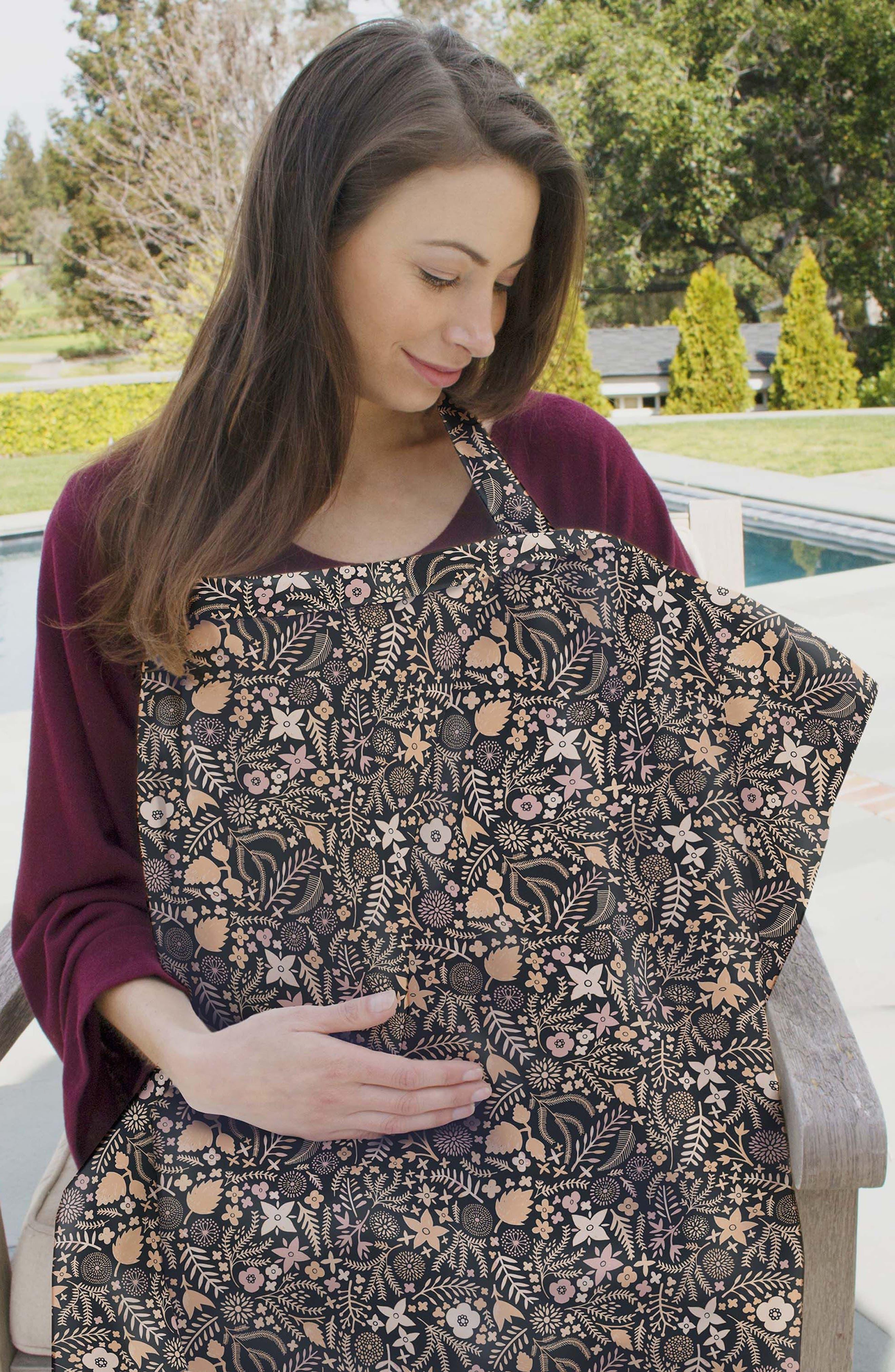Floral Print Cover & 3-Pack Burp Cloths,                             Alternate thumbnail 2, color,                             HAVEN