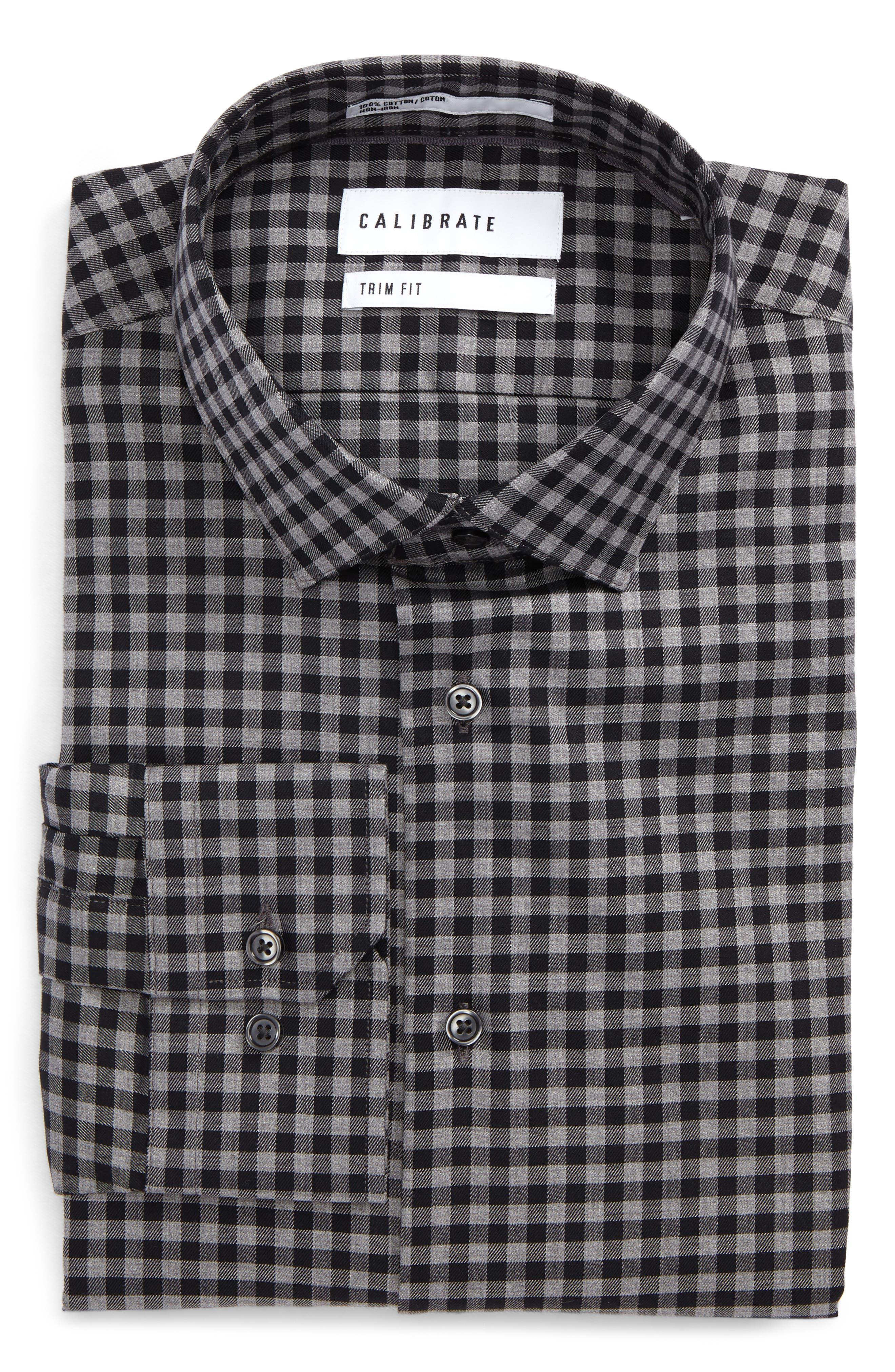 Trim Fit Check Dress Shirt,                             Alternate thumbnail 3, color,                             001