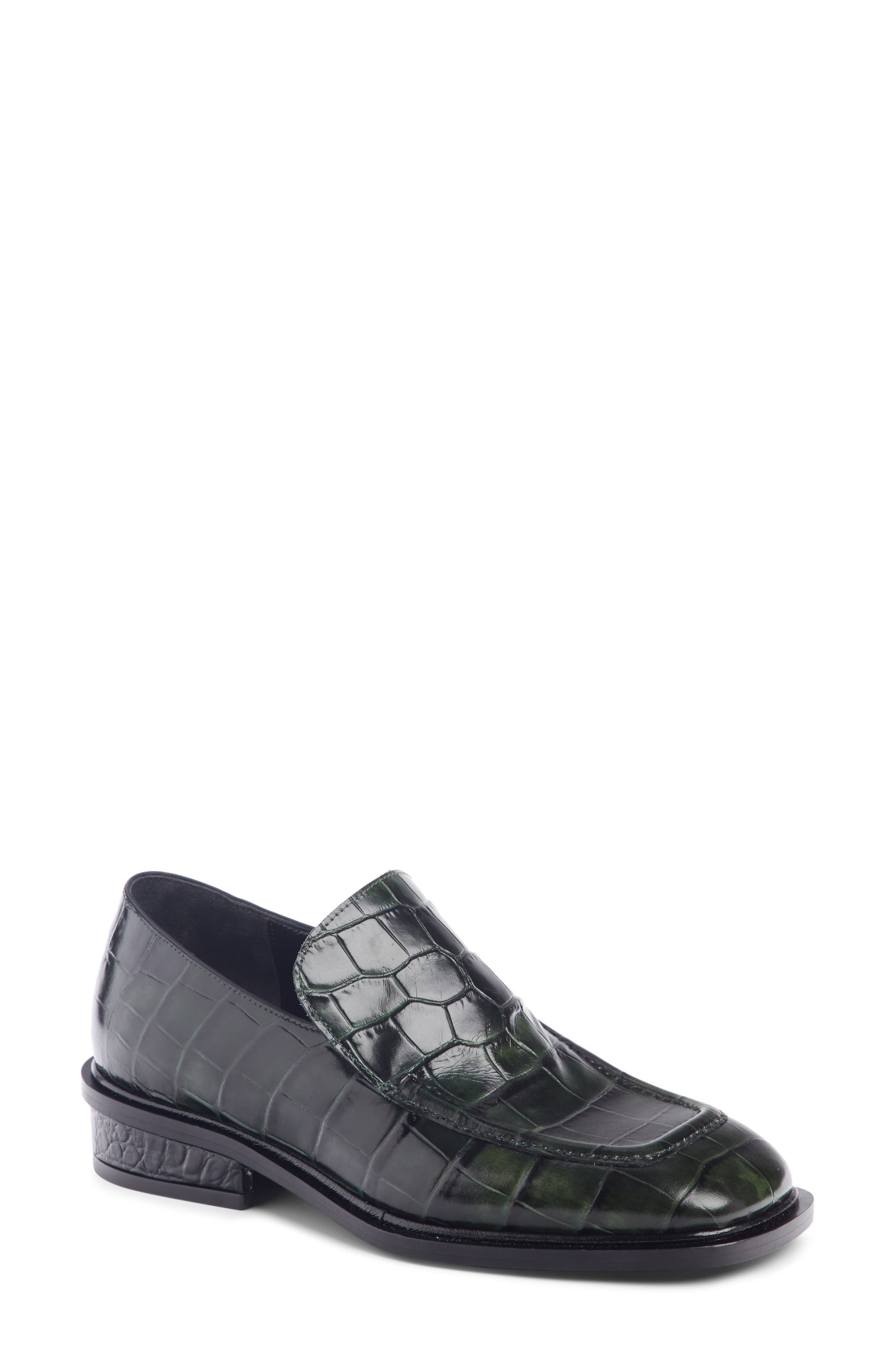 Croc Embossed Loafer,                             Main thumbnail 1, color,                             FOREST GREEN