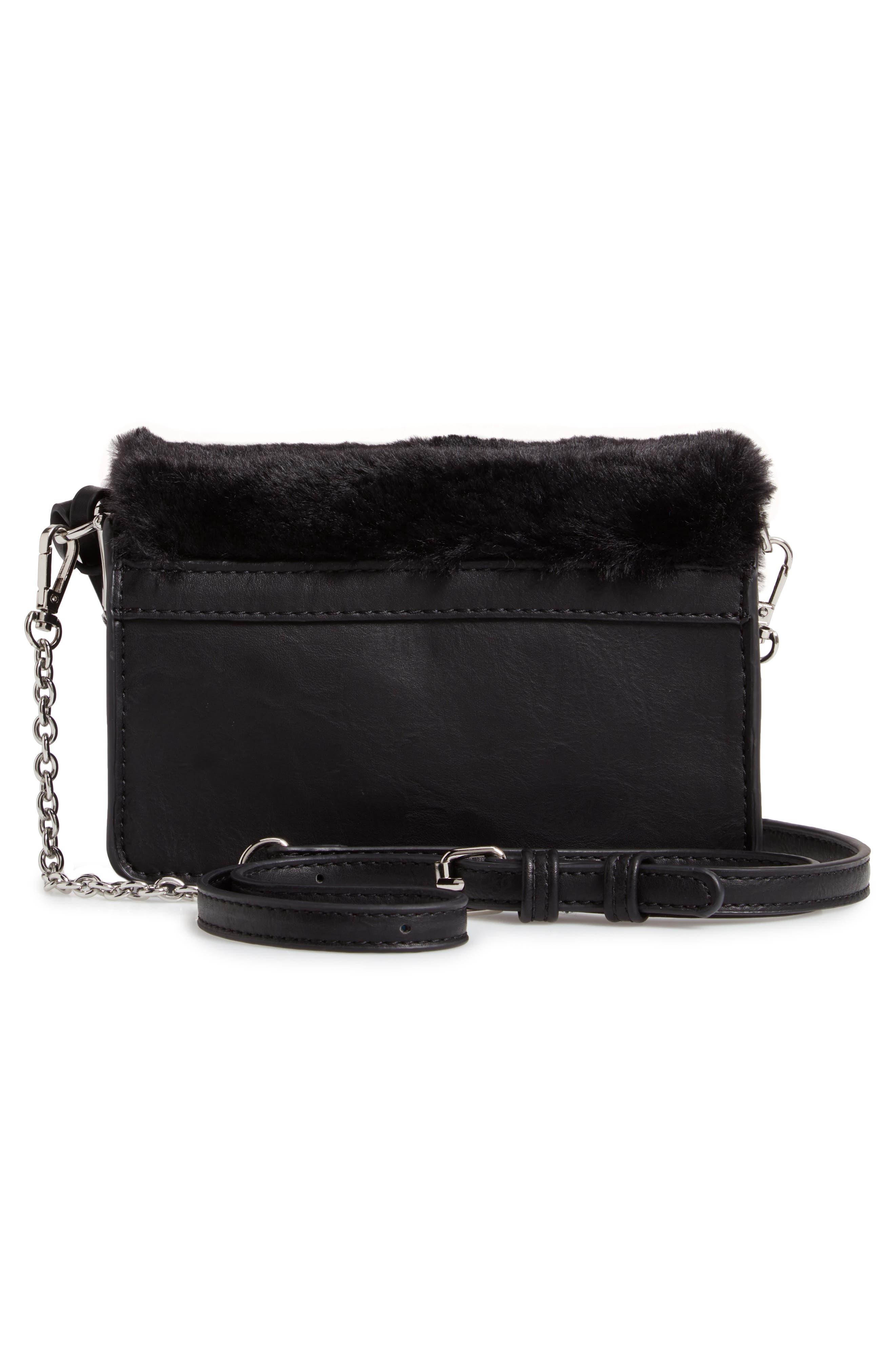 Lebra Faux Fur Crossbody Bag,                             Alternate thumbnail 3, color,                             BLACK
