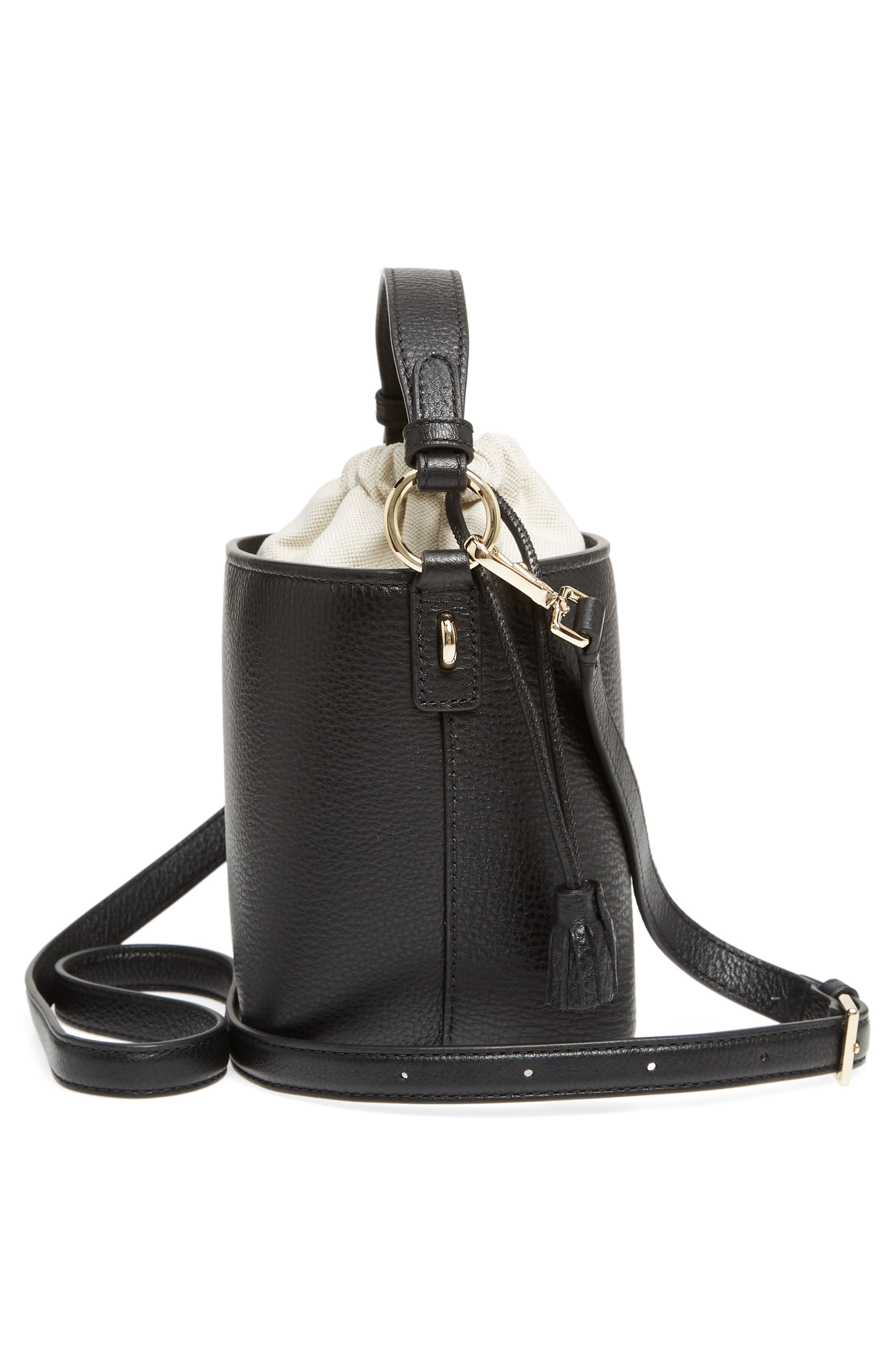 hayes street - pippa leather bucket bag,                             Alternate thumbnail 5, color,                             001