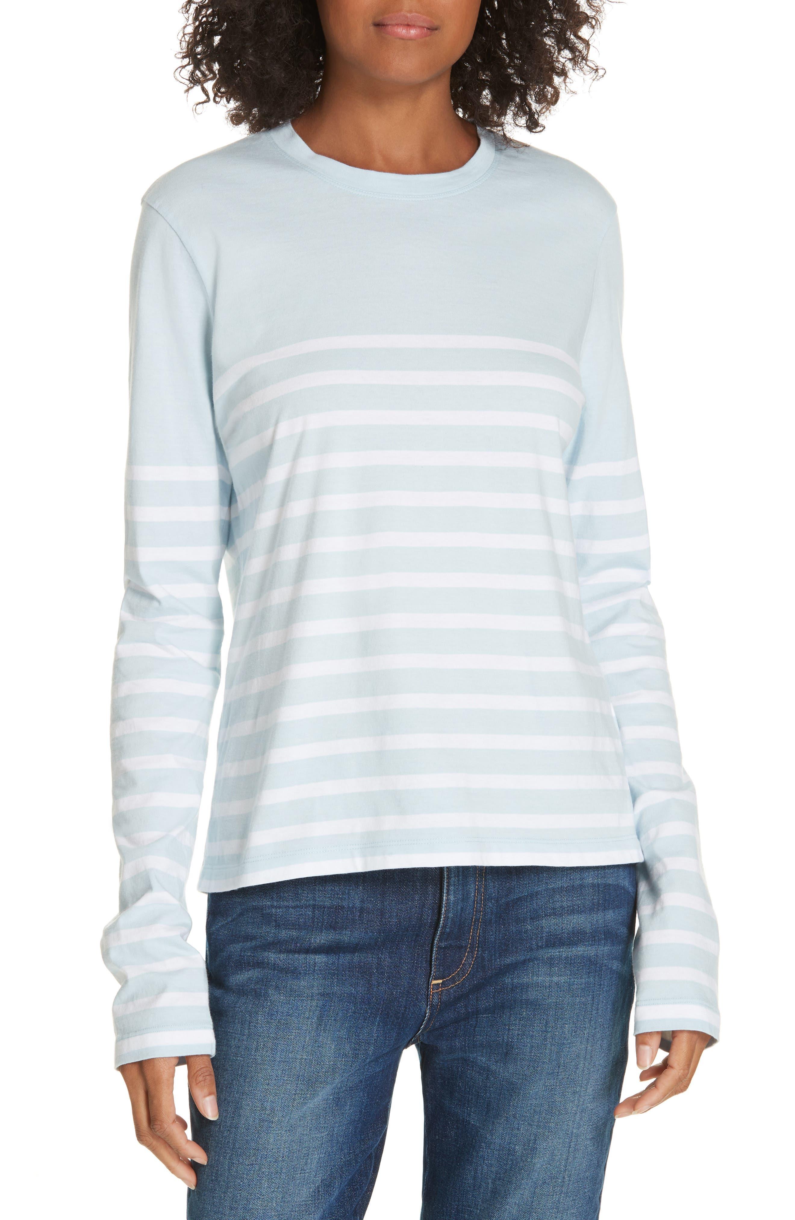 Lean Lines Tee,                         Main,                         color, LIGHT BLUE/ WHITE STRIPES