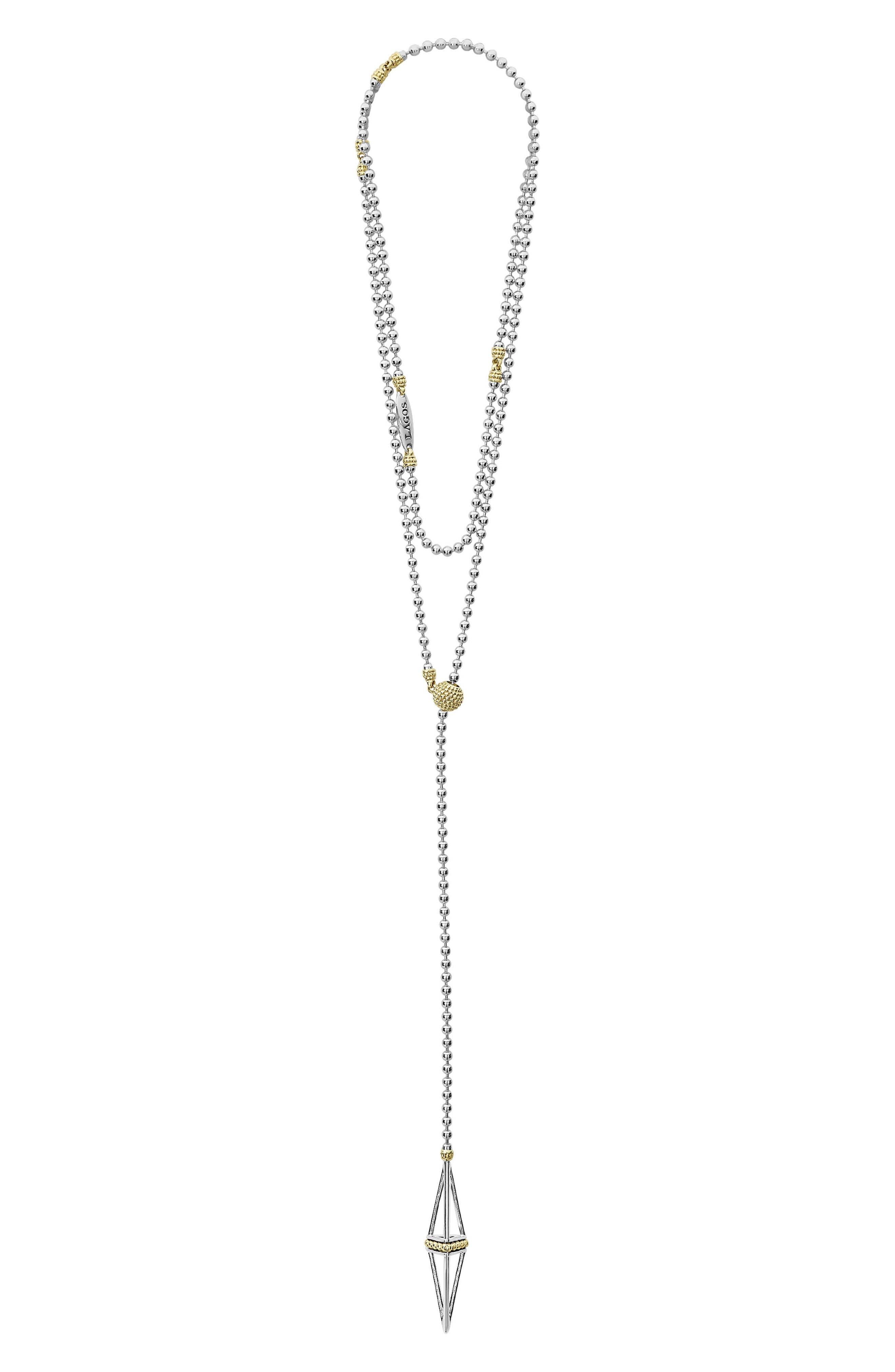 KSL Pyramid Lariat Necklace,                         Main,                         color, SILVER