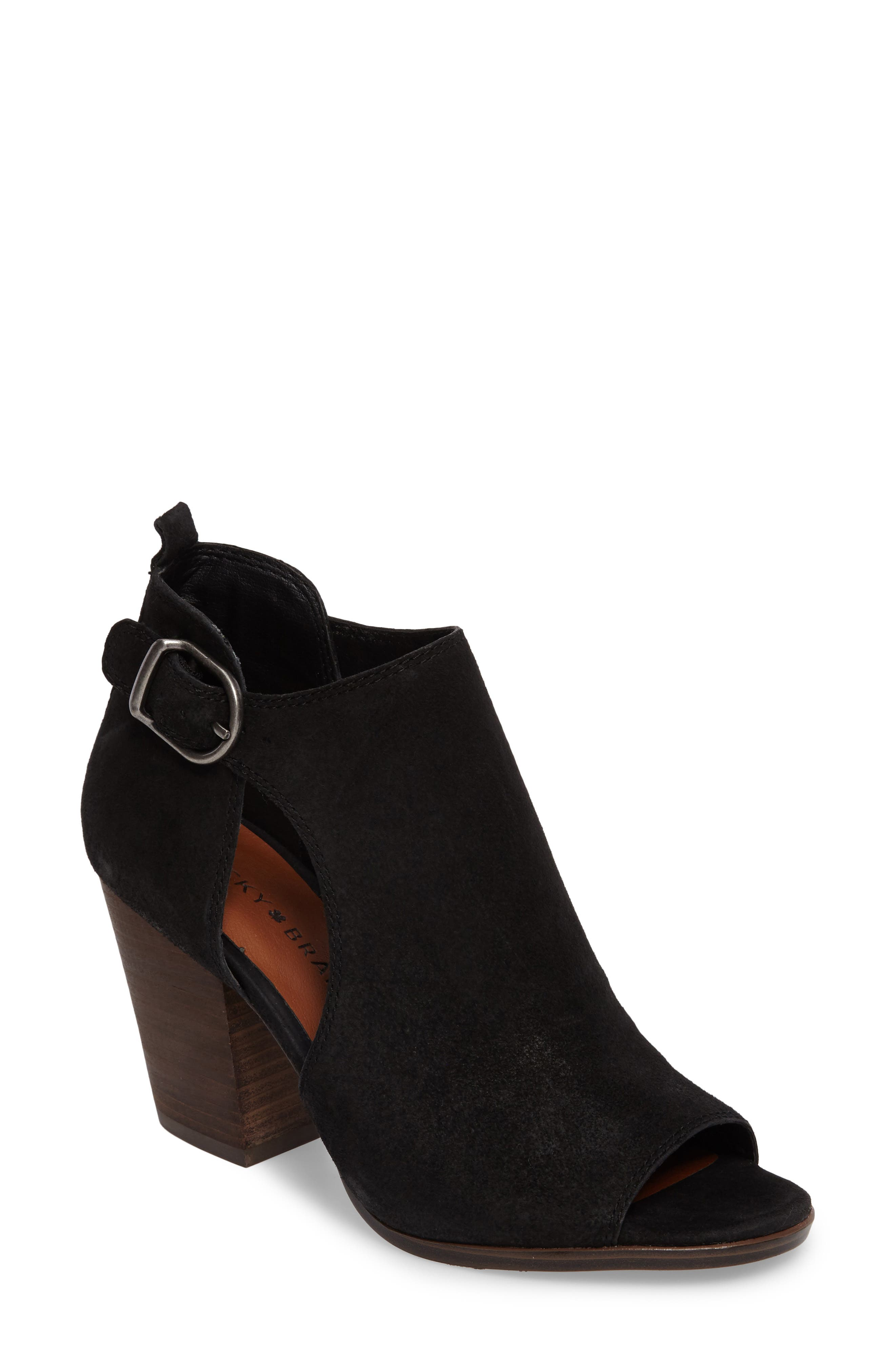 LUCKY BRAND,                             Oona Open Side Bootie,                             Main thumbnail 1, color,                             001