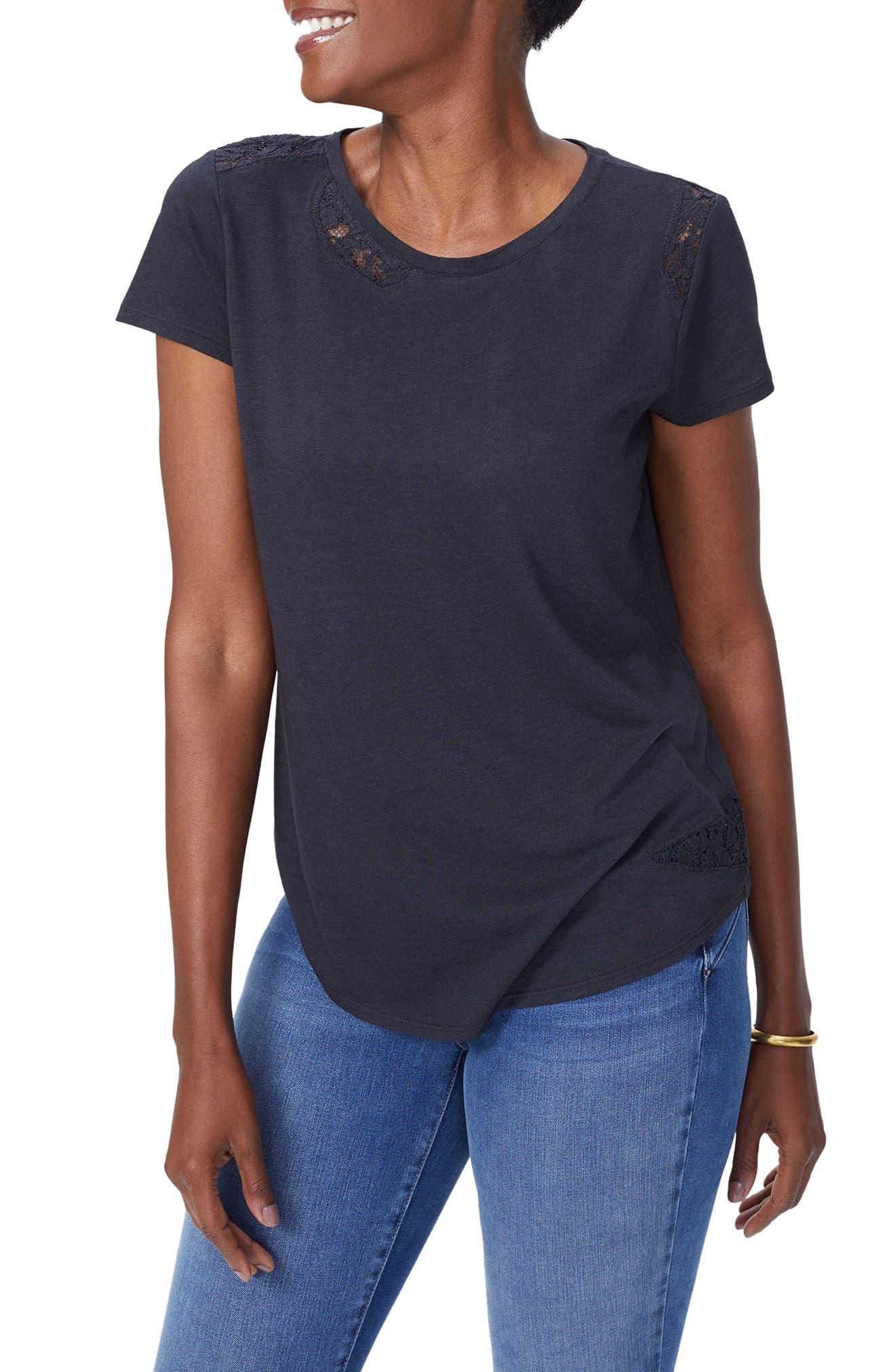 Lace Inset Short Sleeve Shirt,                             Main thumbnail 1, color,                             001