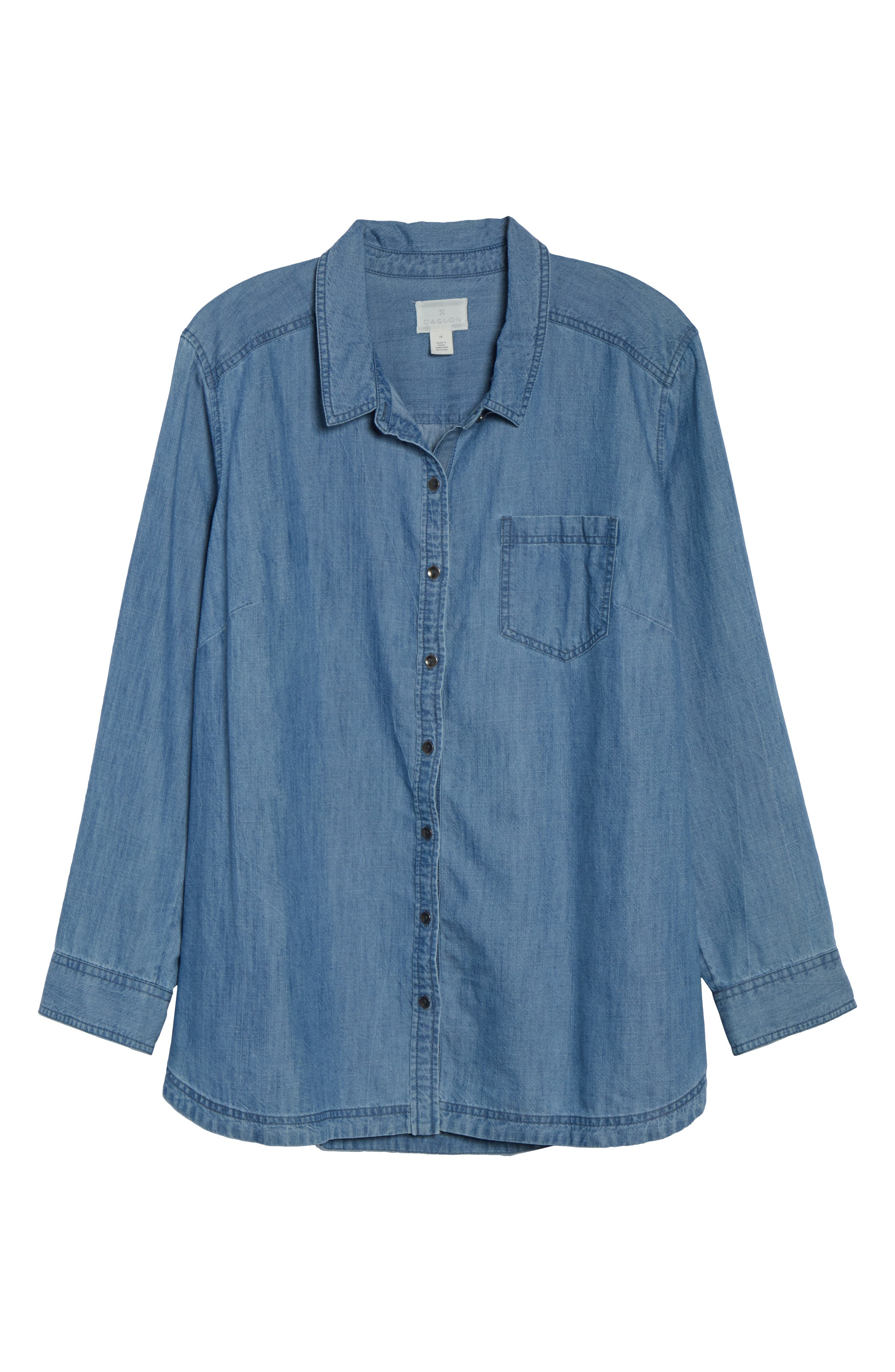 Button Front Chambray Shirt,                             Alternate thumbnail 6, color,                             421