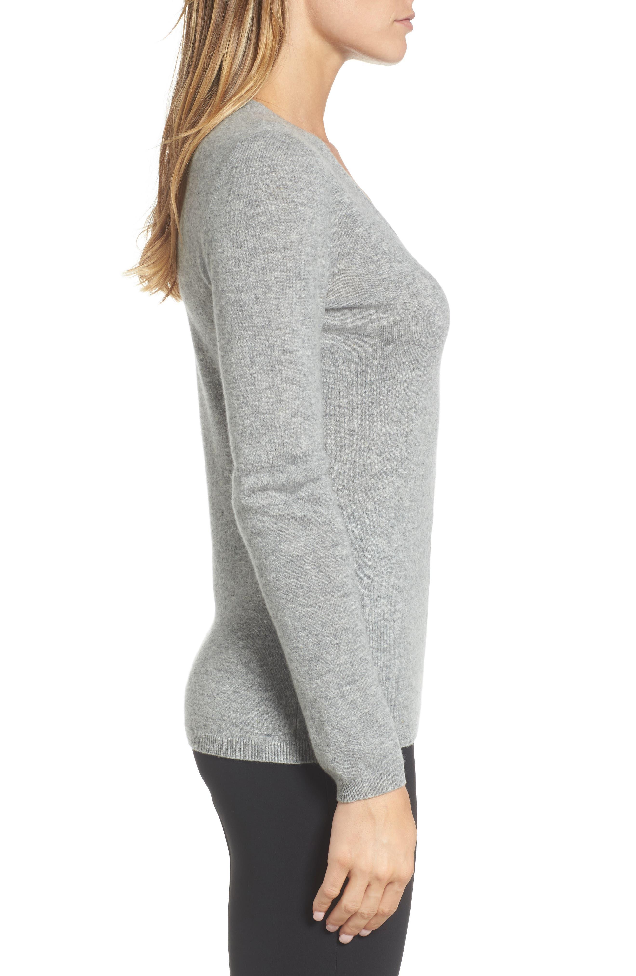 Cashmere V-Neck Sweater,                             Alternate thumbnail 3, color,                             030