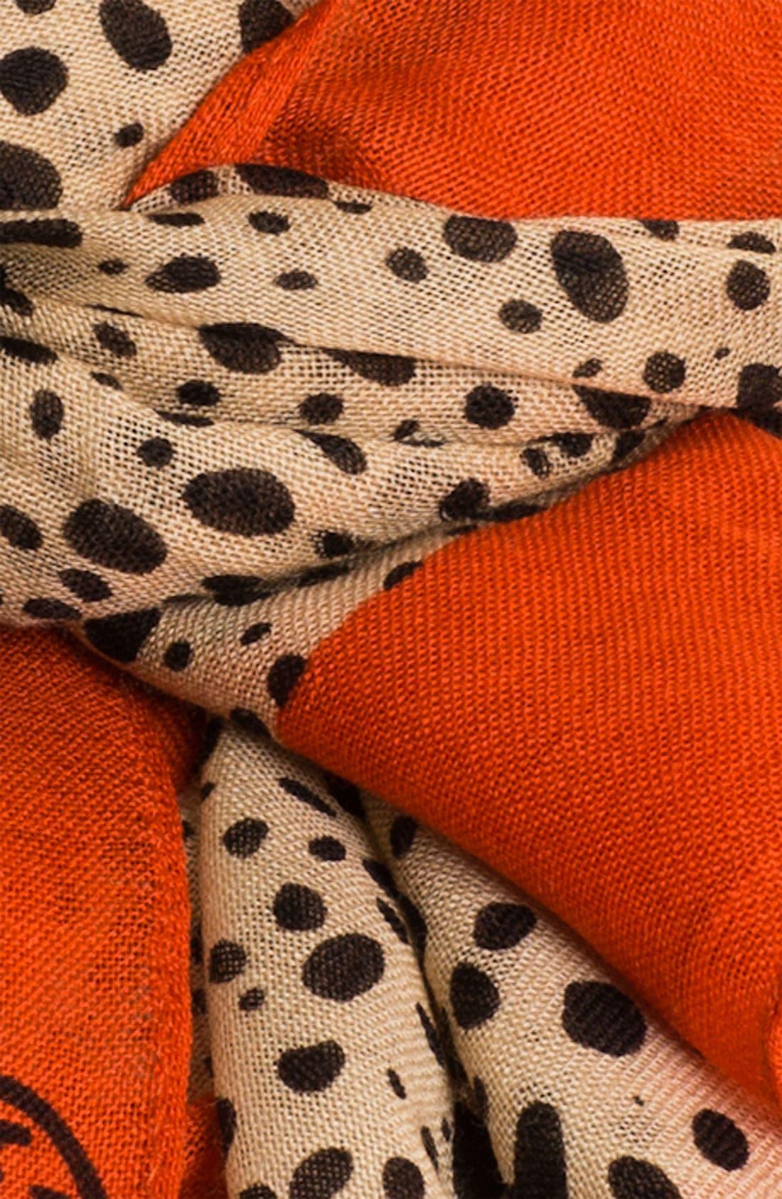 'Cheetah' Wool Scarf,                             Alternate thumbnail 2, color,                             600