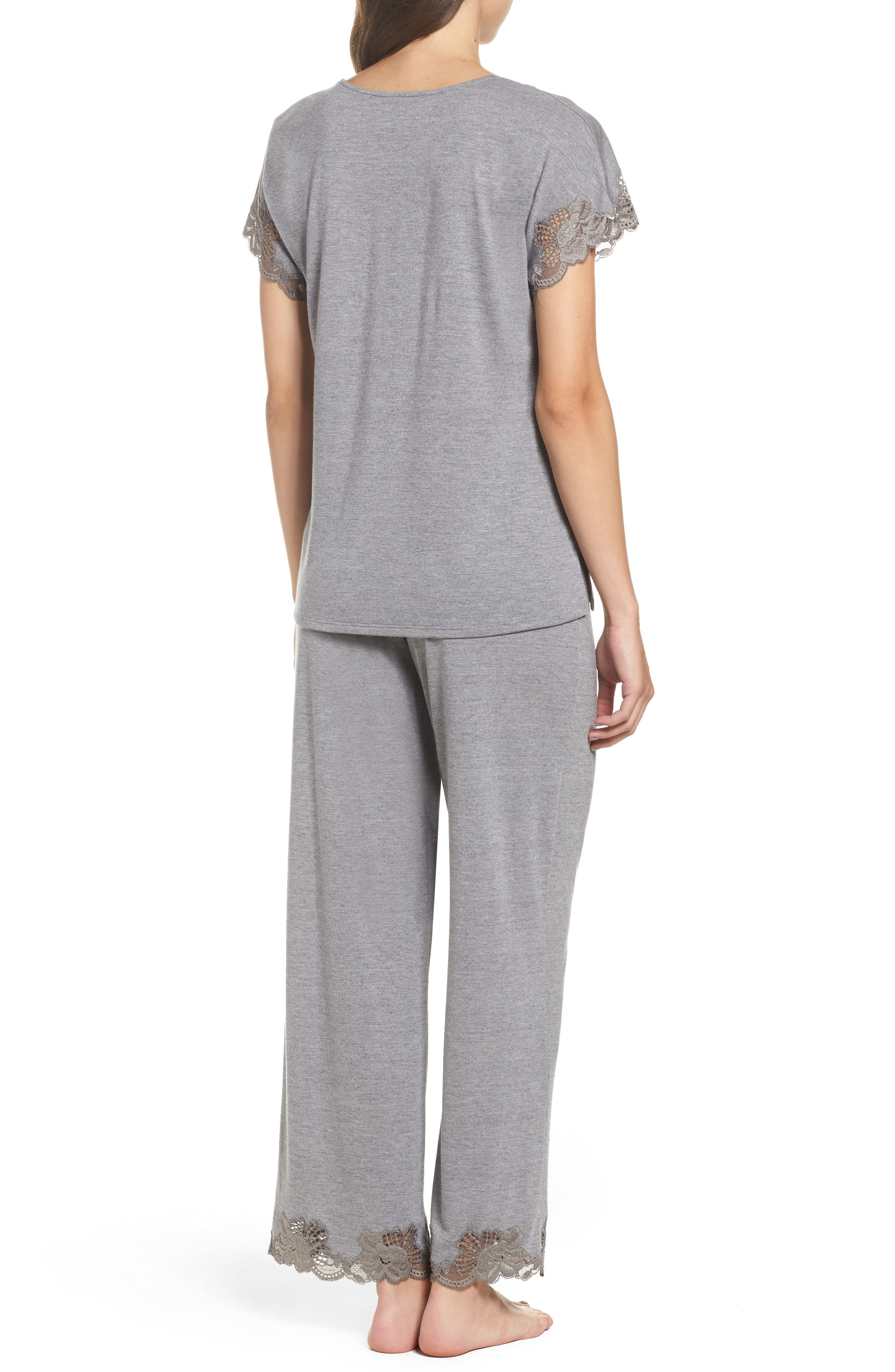 'Zen Floral' Pajama Set,                             Alternate thumbnail 2, color,                             PASTEL GREY