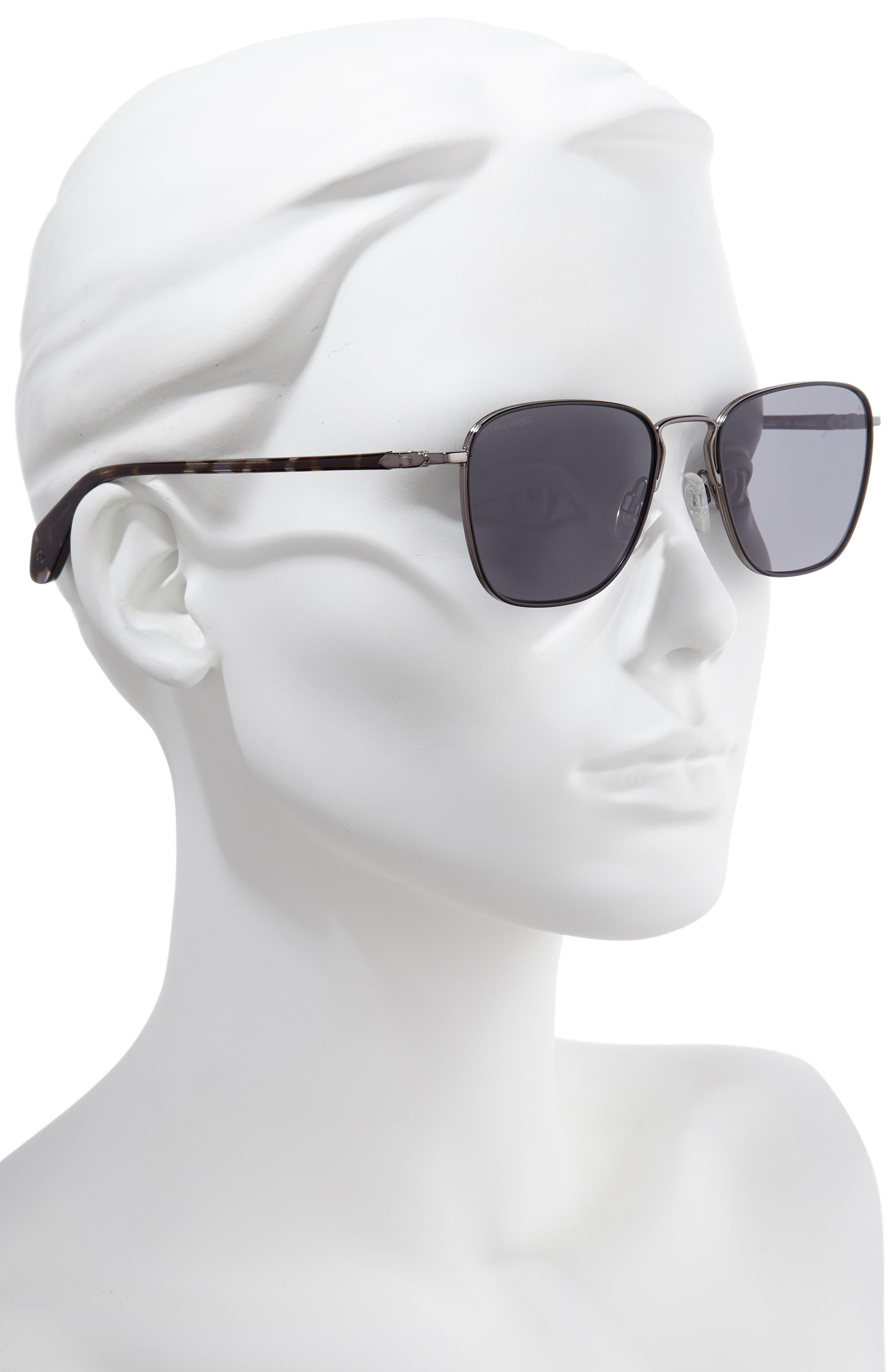 54mm Polarized Aviator Sunglasses,                             Alternate thumbnail 2, color,                             DARK RUTHENIUM/ BLACK
