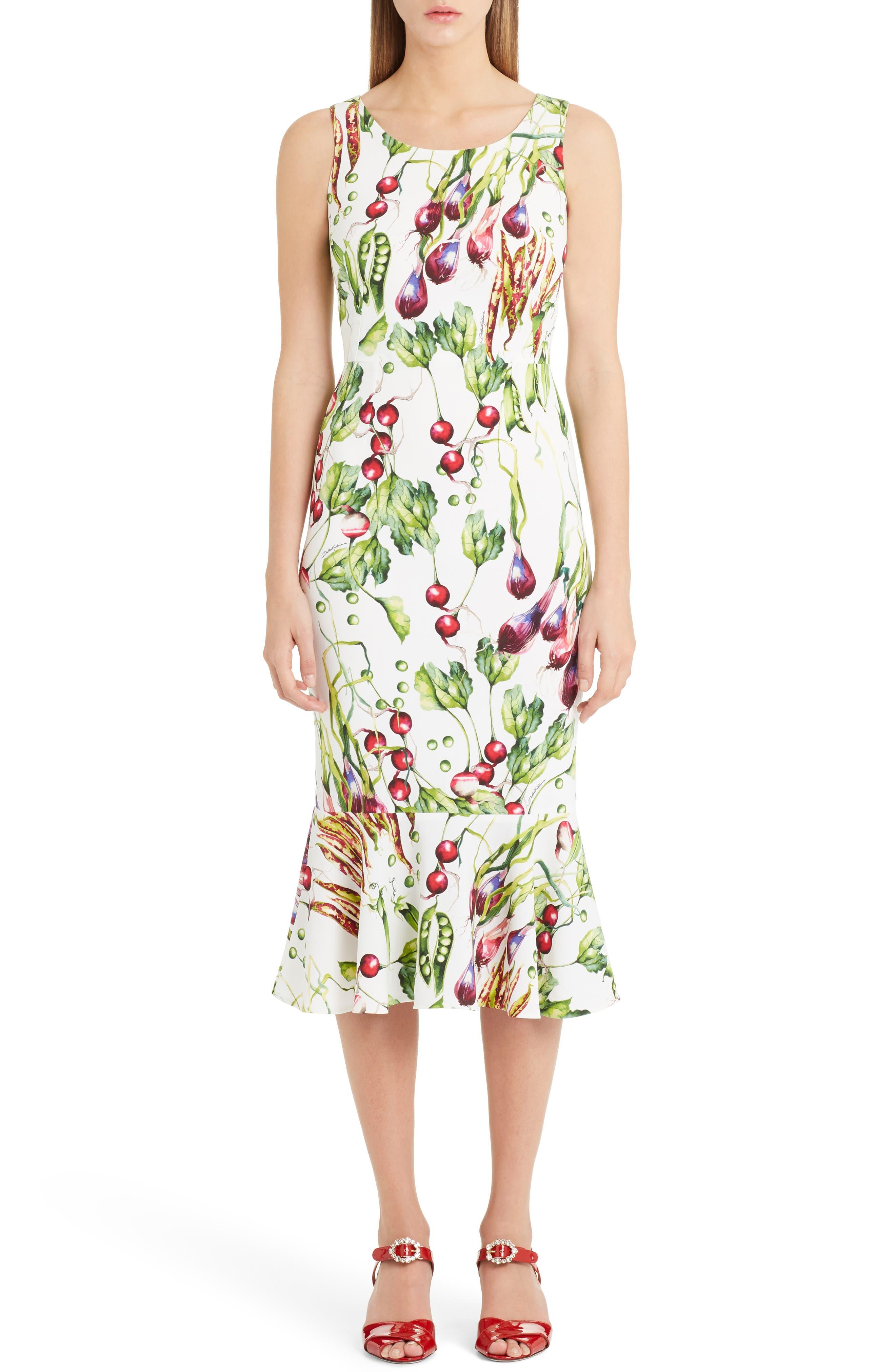 Garden Print Flare Hem Cady Dress,                             Main thumbnail 1, color,                             115