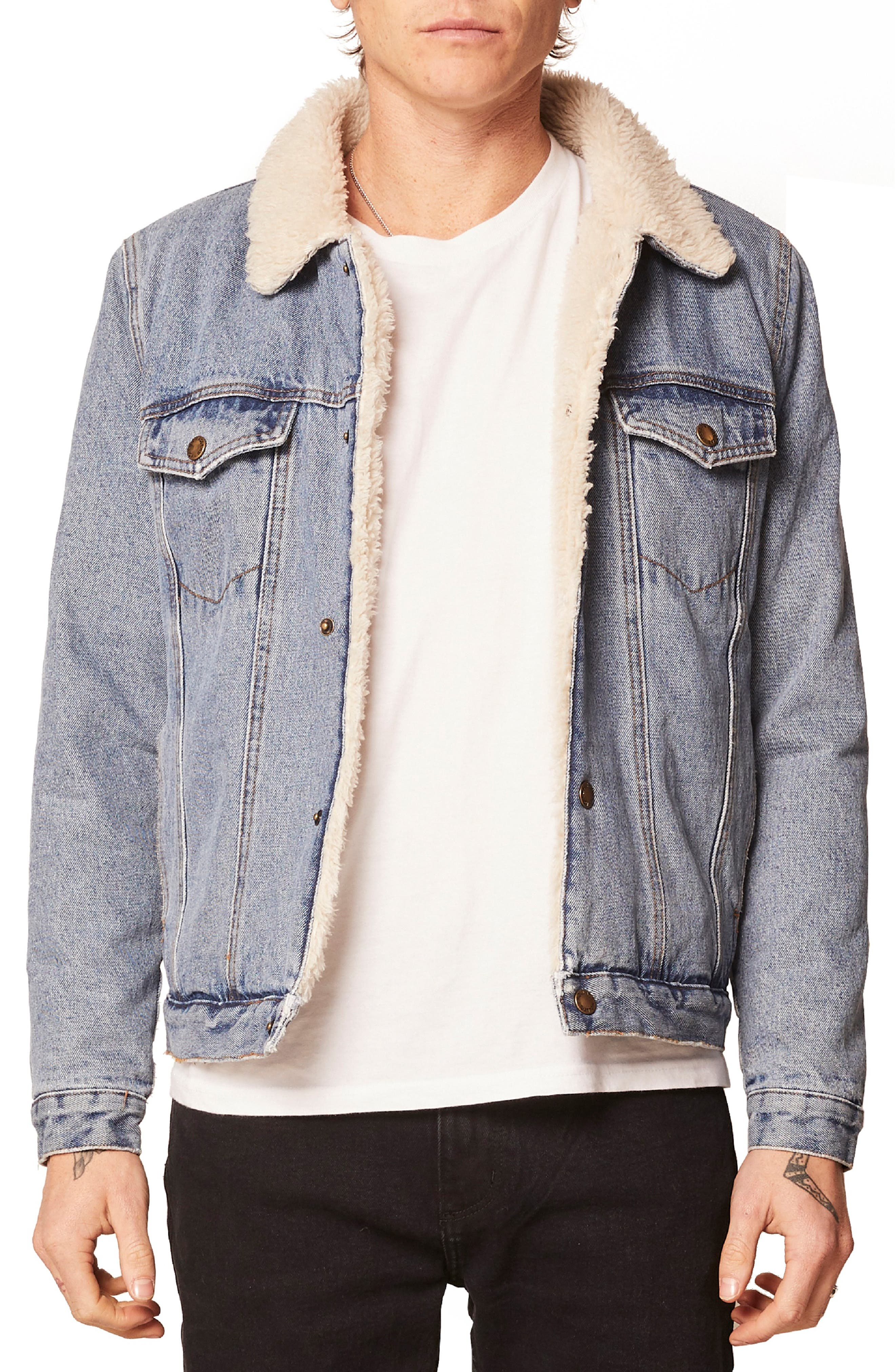 Lined Denim Jacket,                         Main,                         color, STONE WASH