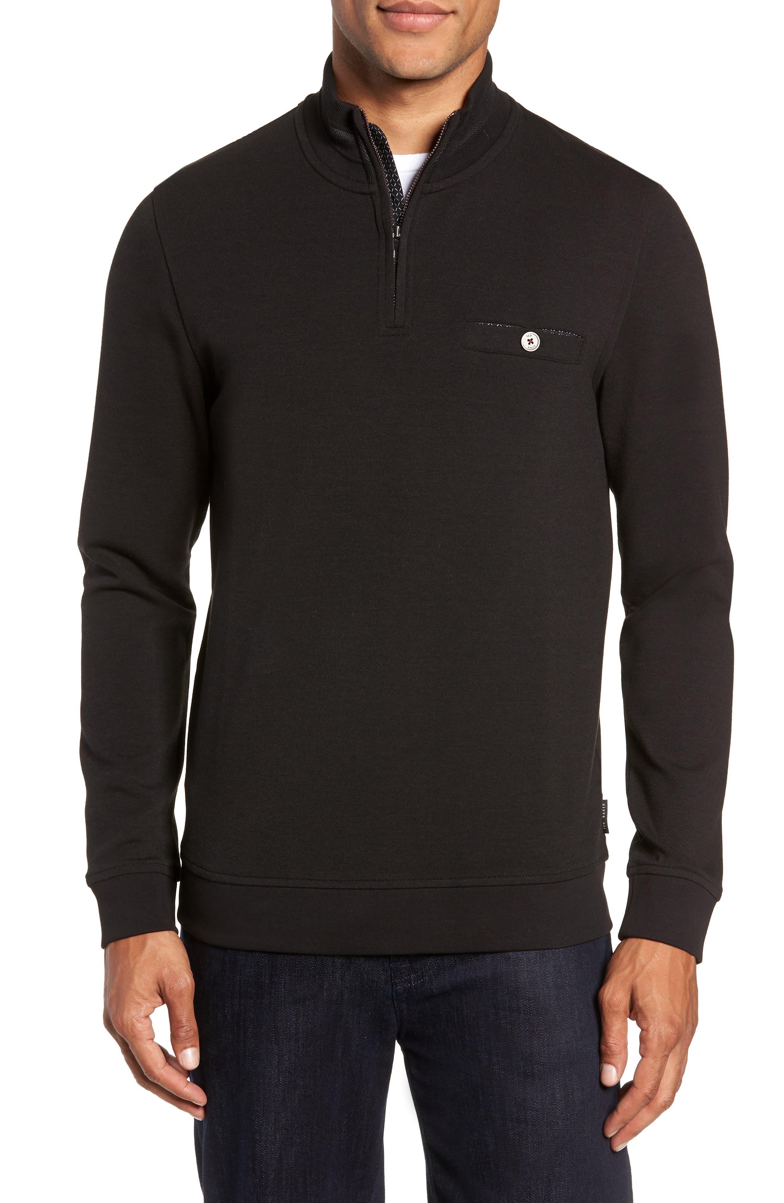 Peper Trim Fit Half Zip Pullover,                             Main thumbnail 1, color,                             001