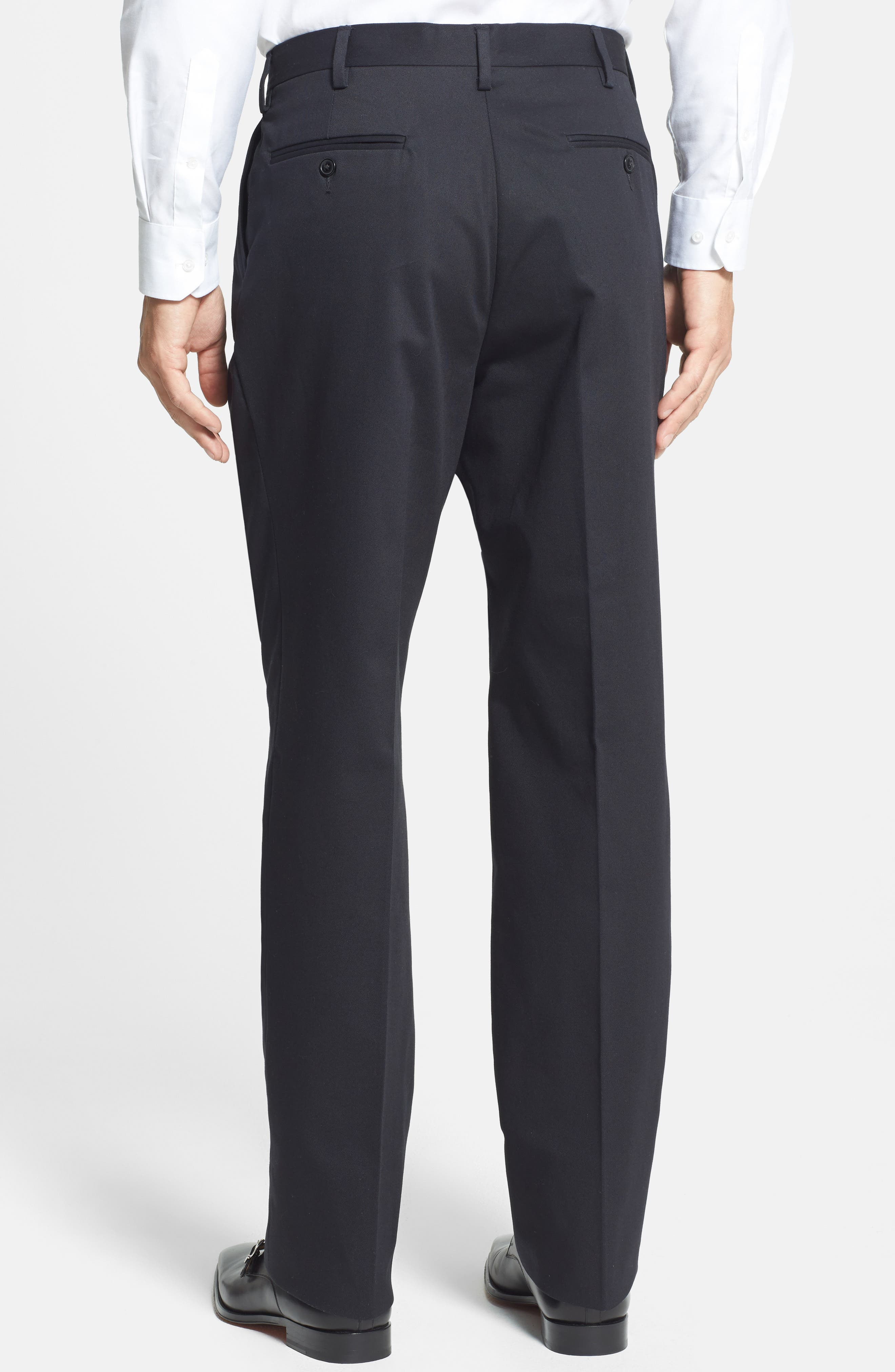 Pleated Cotton Trousers,                             Alternate thumbnail 3, color,                             BLACK