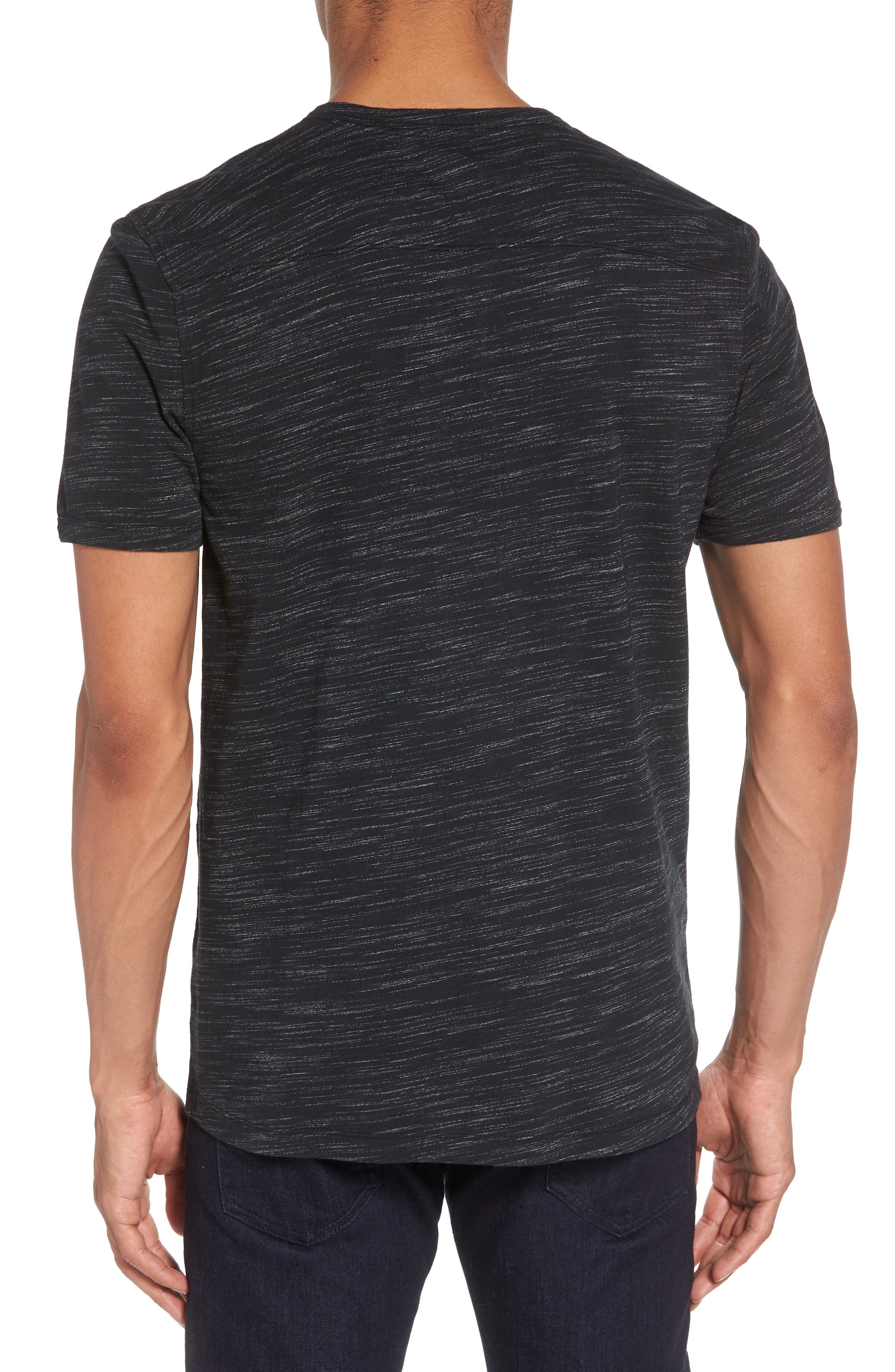 Space Dyed One-Button Henley T-Shirt,                             Alternate thumbnail 2, color,                             001