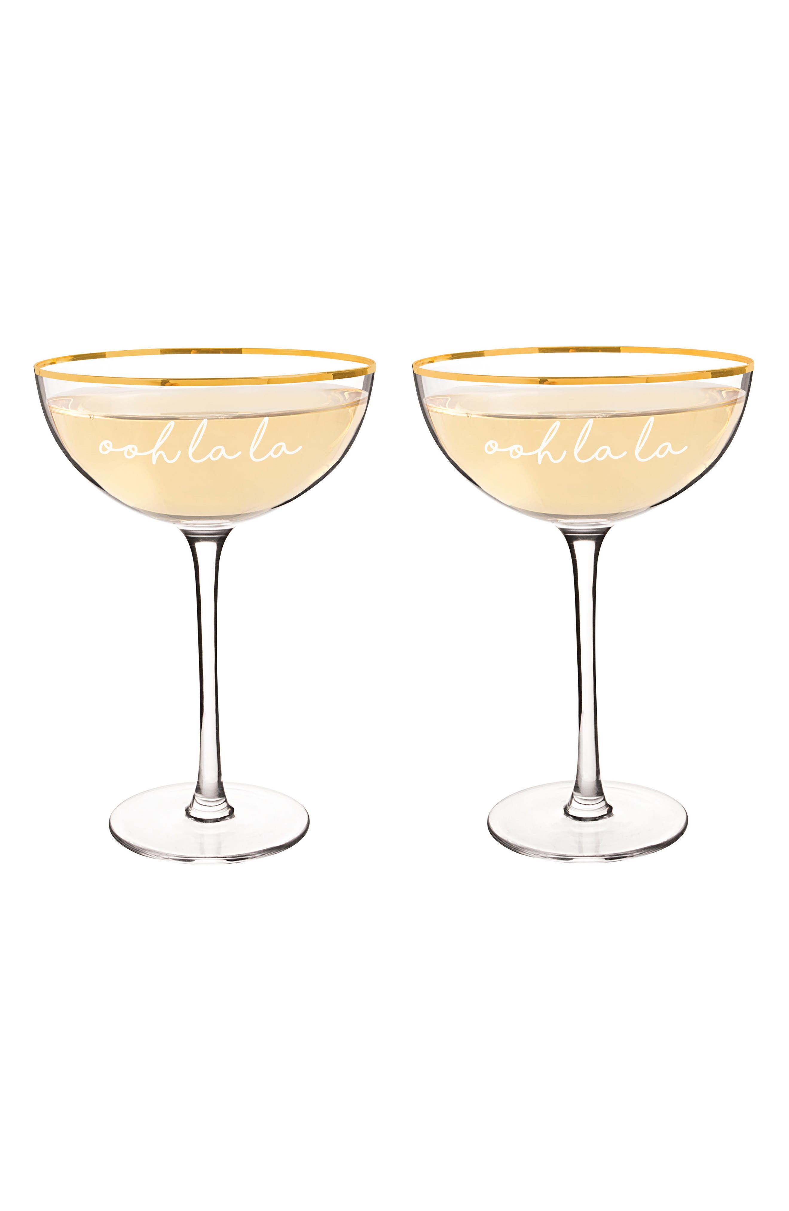 Ooh La La Set of 2 Champagne Coupes,                             Main thumbnail 1, color,                             100