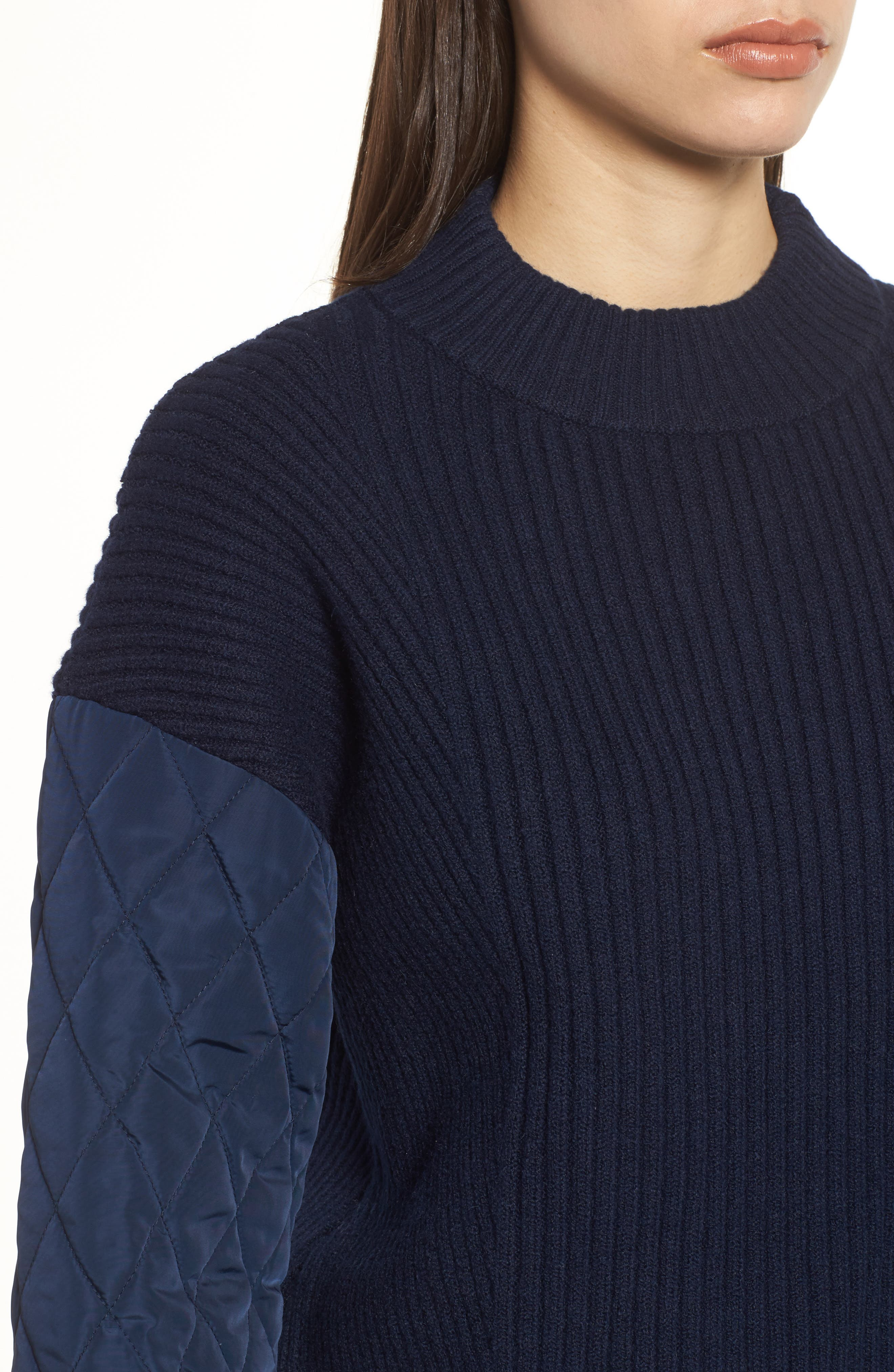 Quilted Sleeve Sweater,                             Alternate thumbnail 4, color,                             INDIGO