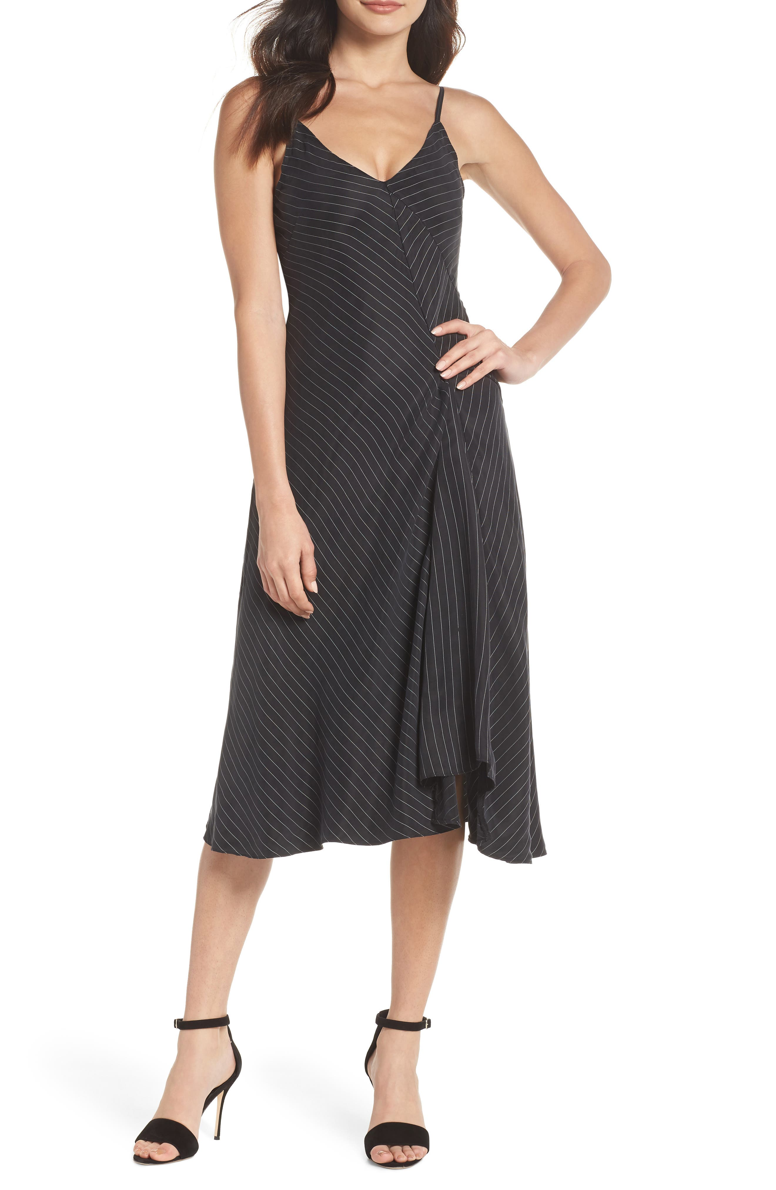 Bay Area Sleeveless Pinstripe Midi Dress,                         Main,                         color, 001