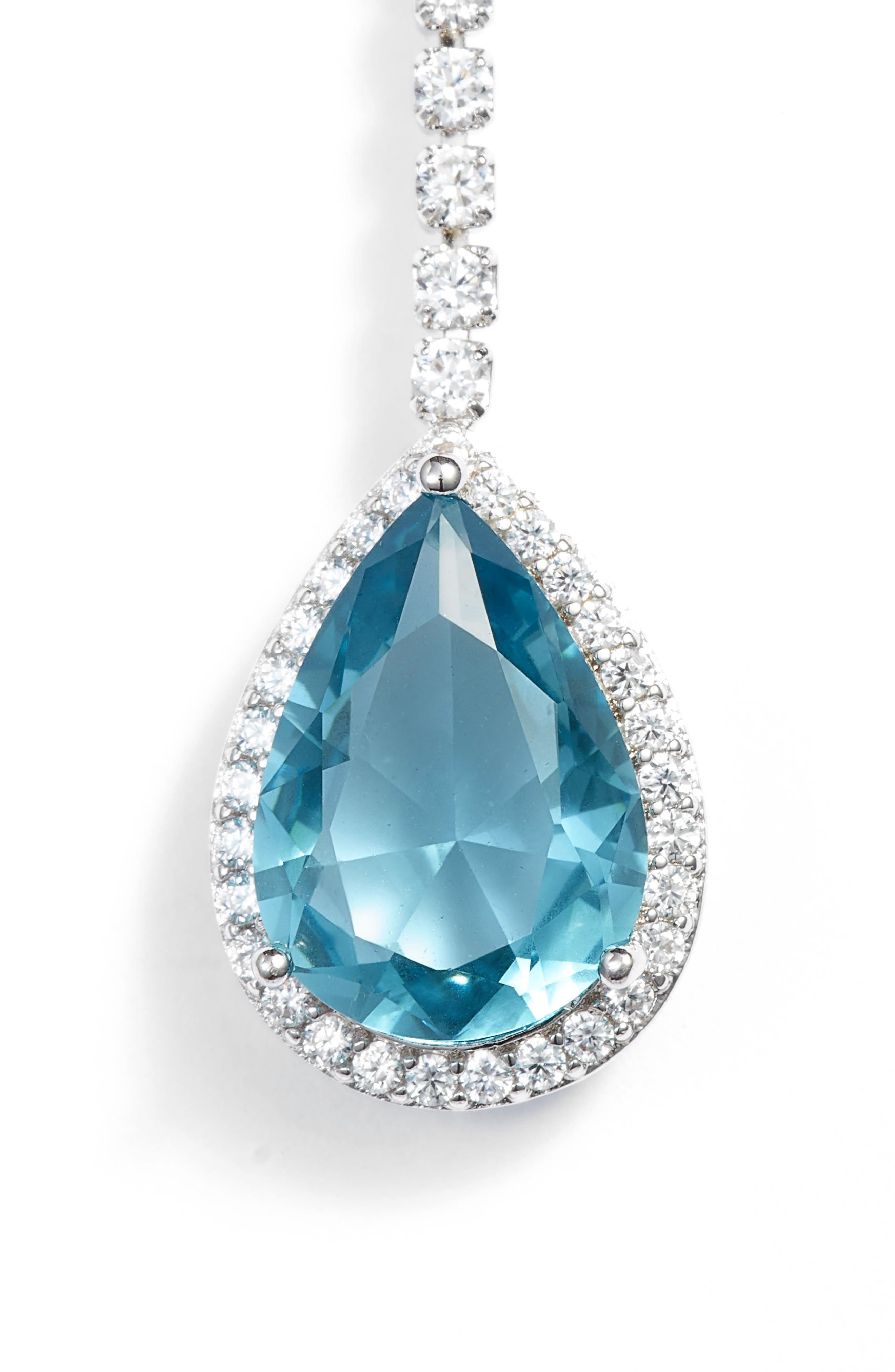 Teardrop Cubic Zirconia Y-Shape Necklace,                             Main thumbnail 1, color,                             BLUE CRYSTAL/ SILVER