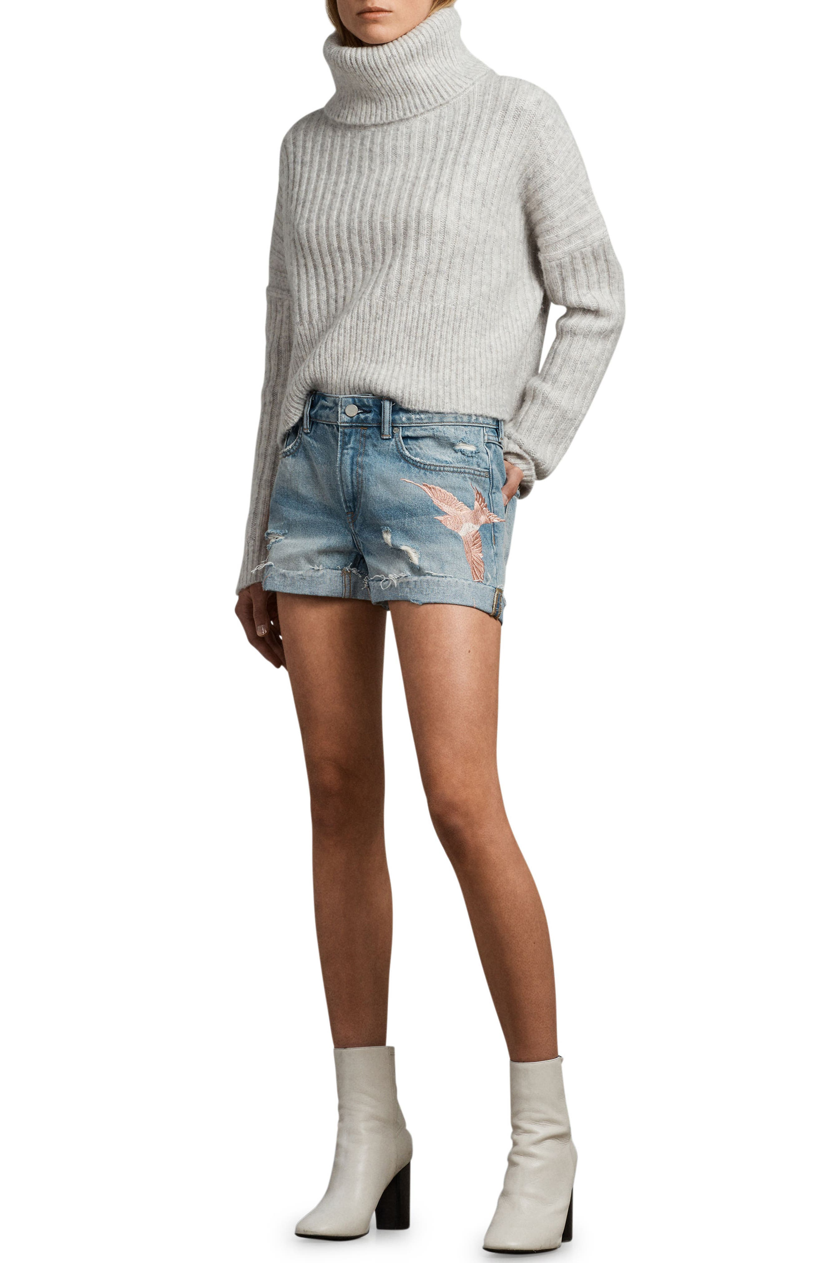 Birds Pam Embroidered Denim Shorts,                             Alternate thumbnail 4, color,                             460