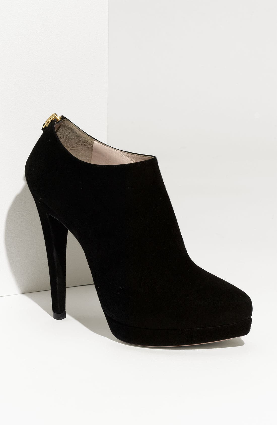 Pointed Toe Suede Platform Bootie,                             Main thumbnail 1, color,                             001