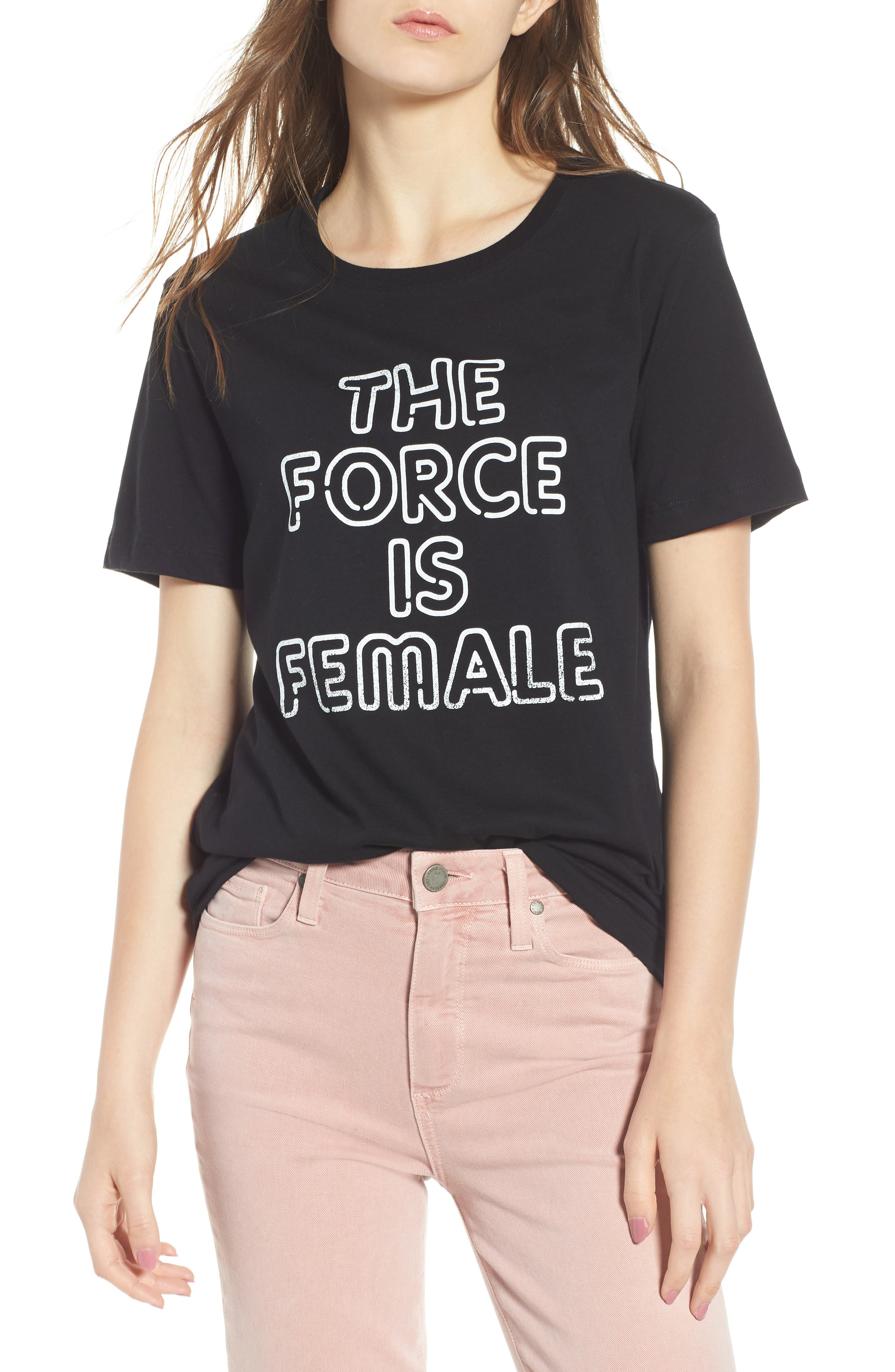 The Force Is Female Tee,                             Main thumbnail 1, color,                             BLACK/ WHITE