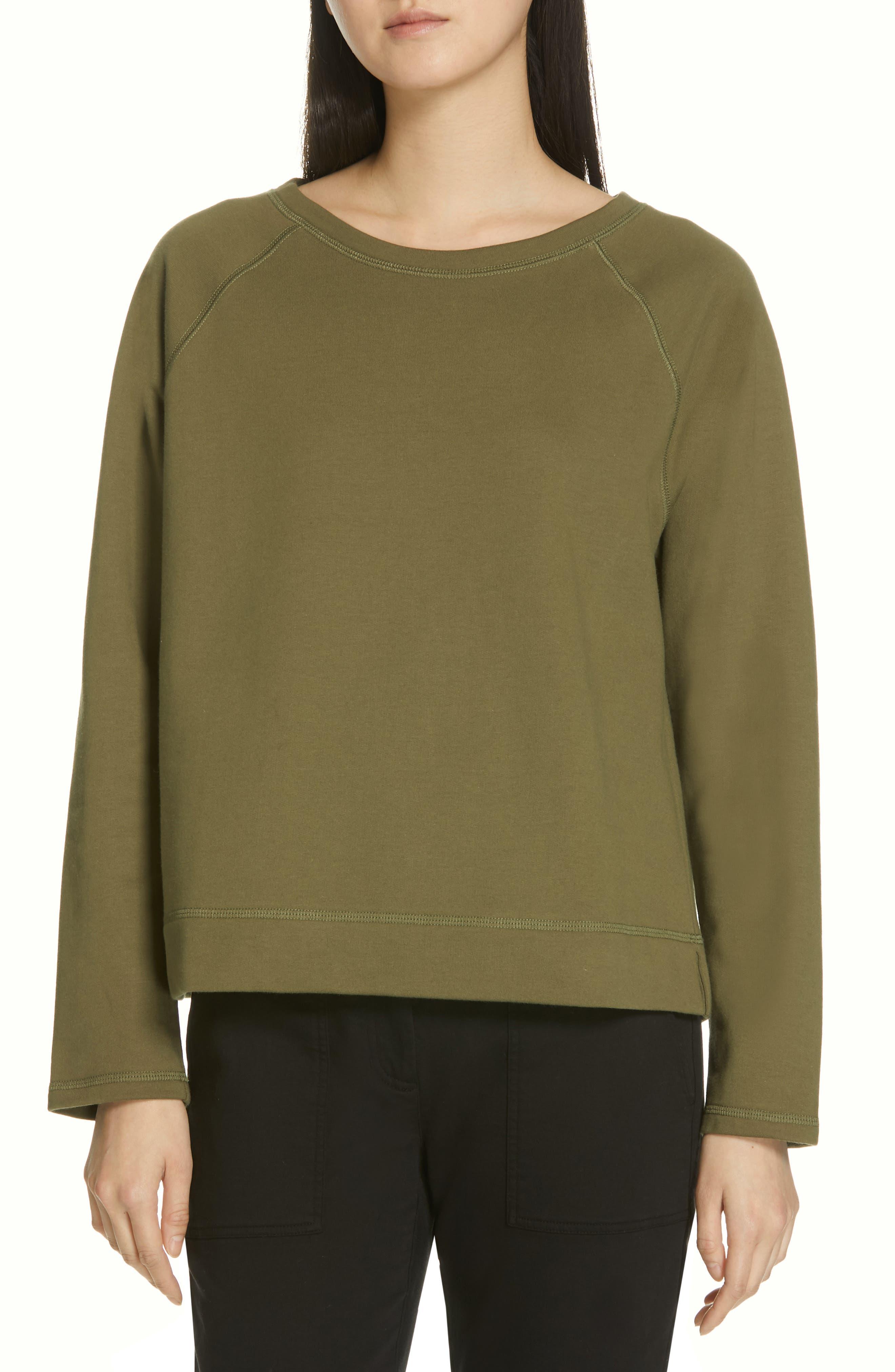 Petite Eileen Fisher Stretch Organic Cotton Top, Green