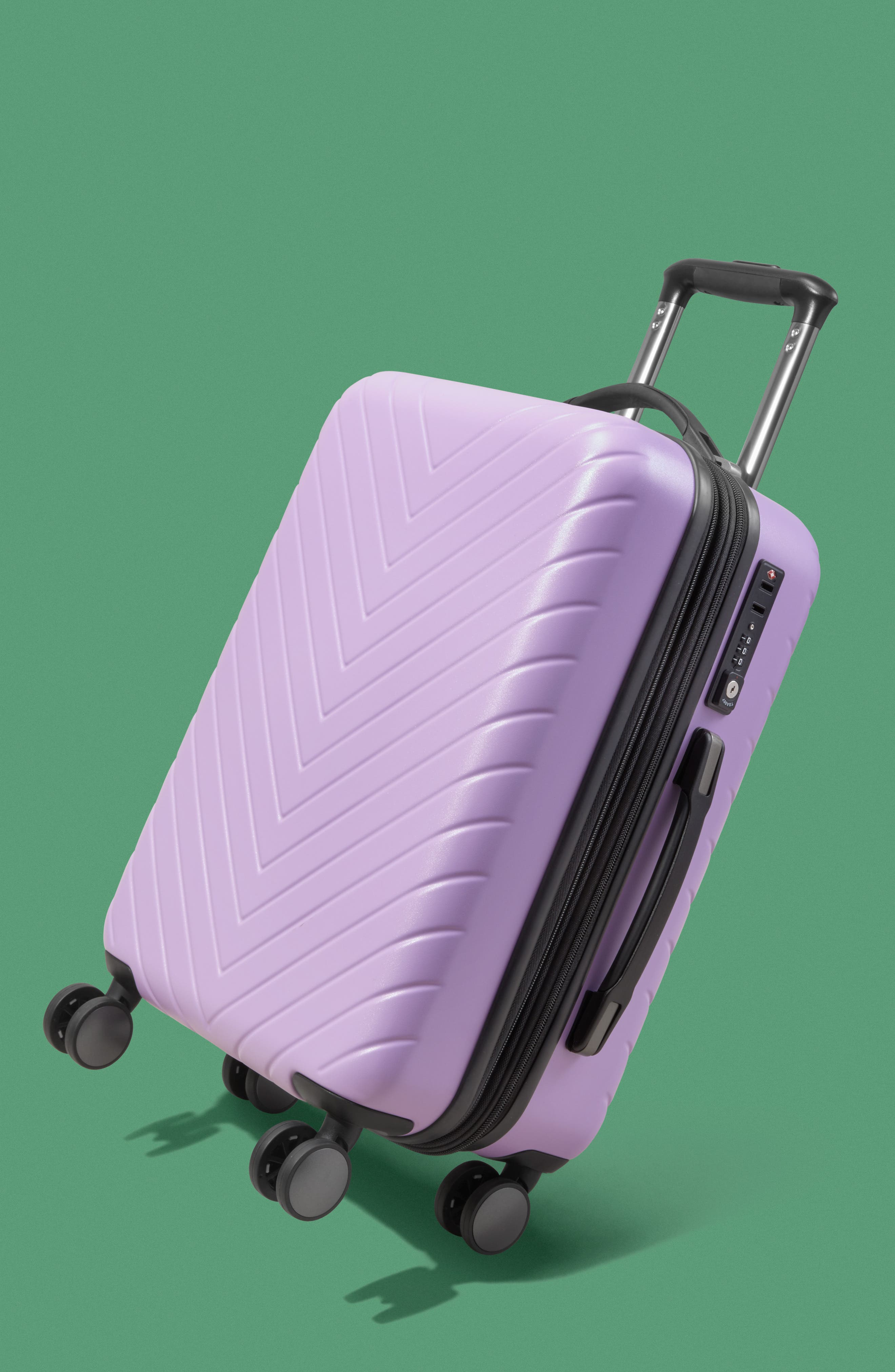 Chevron 18-Inch Spinner Carry-On,                             Alternate thumbnail 7, color,                             LAVENDER SWEET