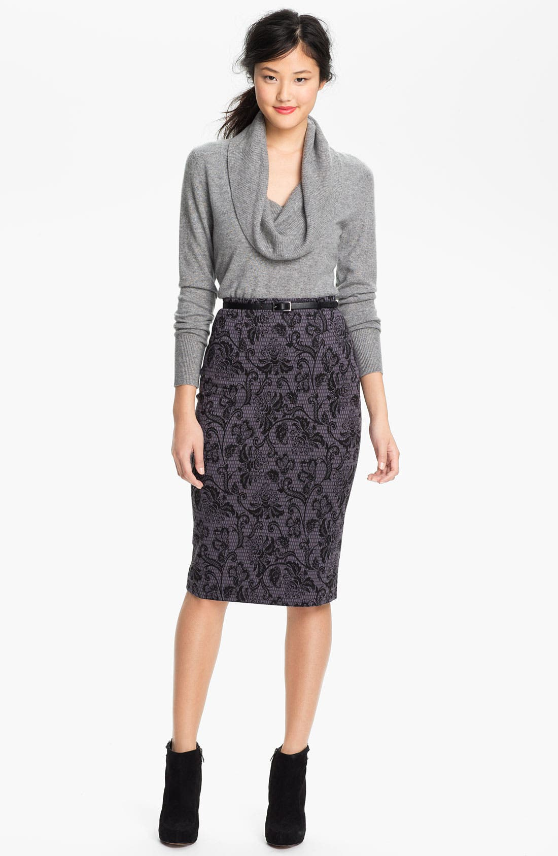Belted Ponte Skirt,                             Alternate thumbnail 40, color,
