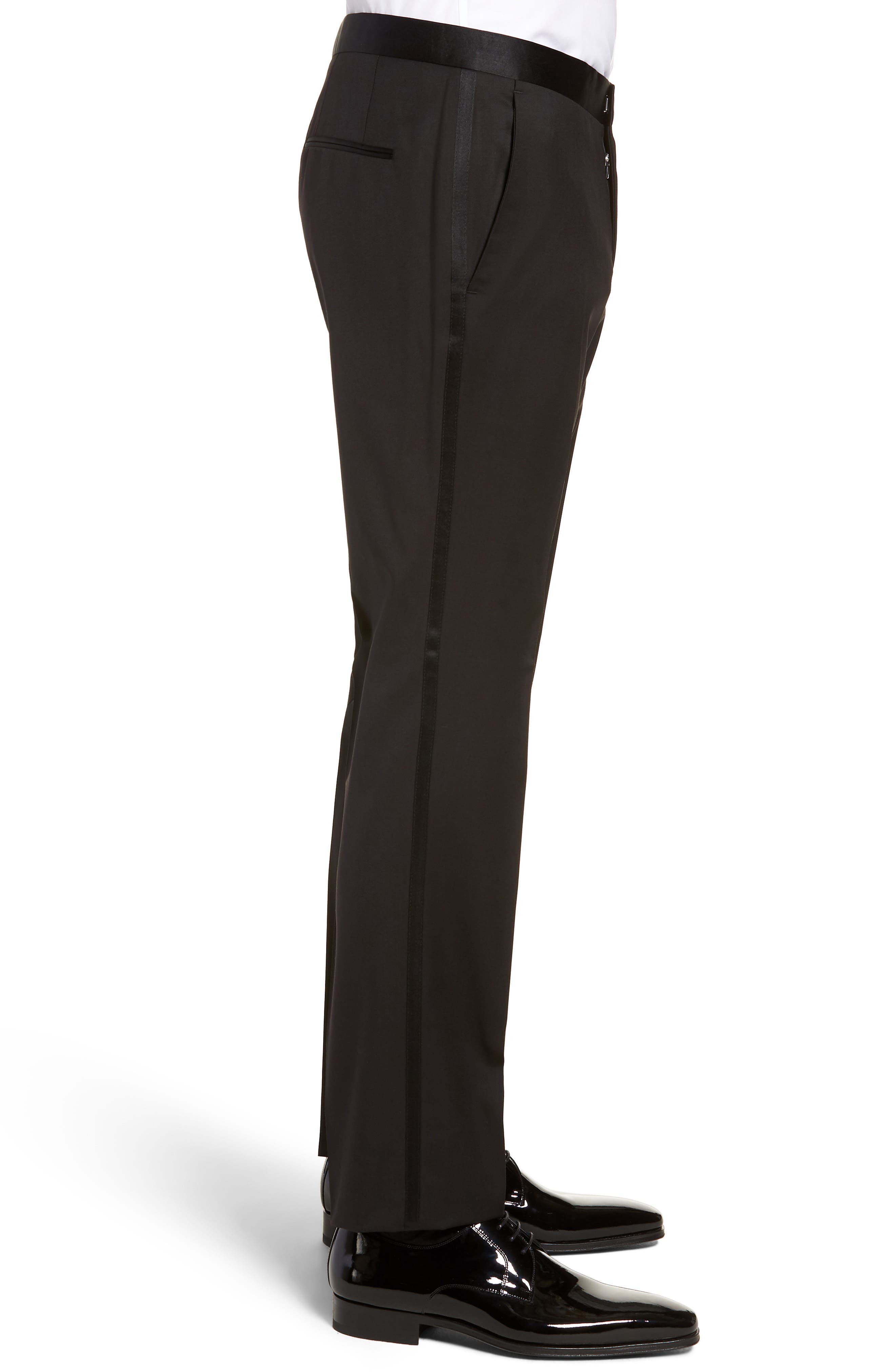 Gilan CYL Flat Front Wool Trousers,                             Alternate thumbnail 3, color,                             BLACK