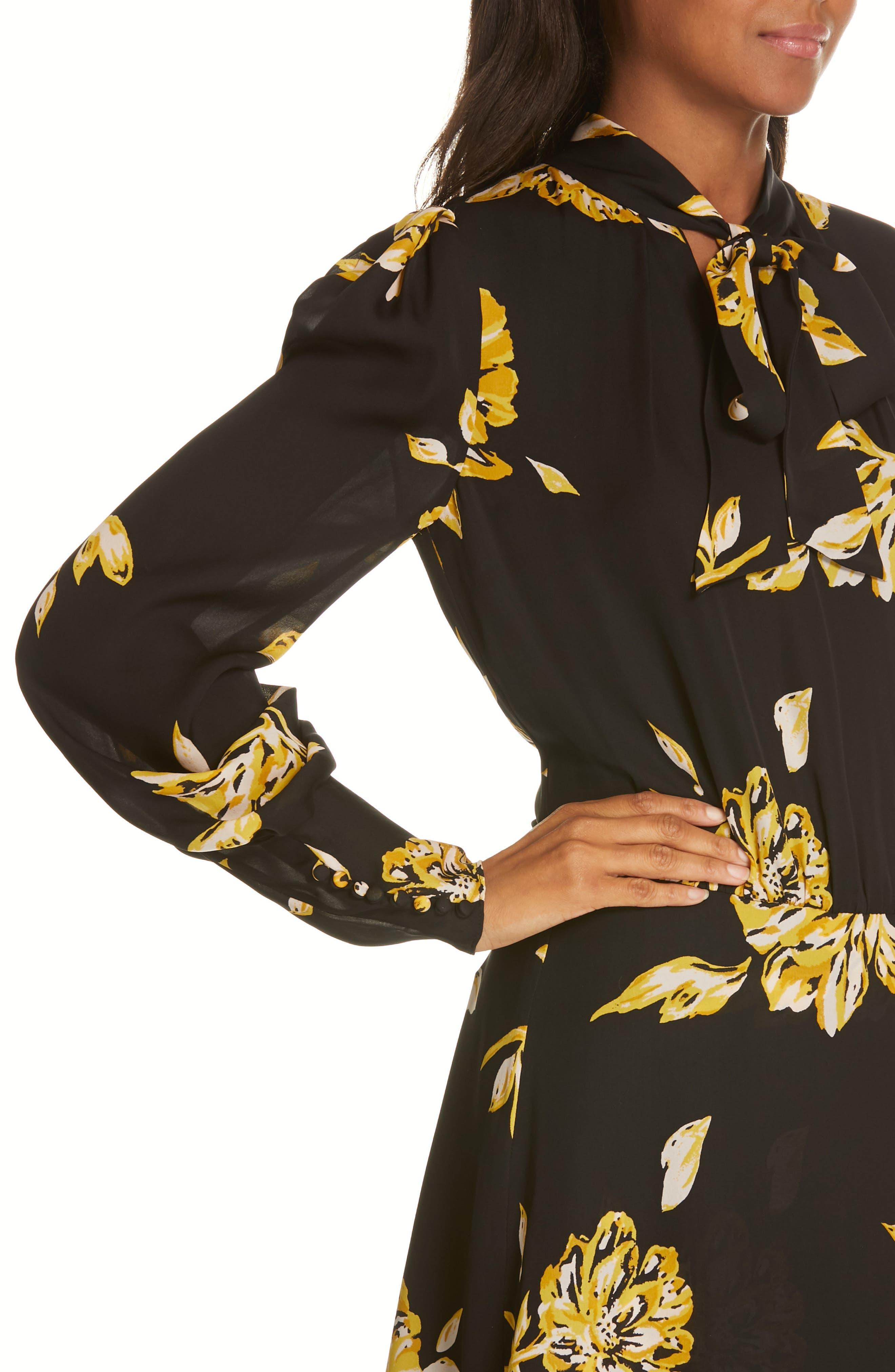 Gyan Floral Silk Dress,                             Alternate thumbnail 4, color,                             CAVIAR