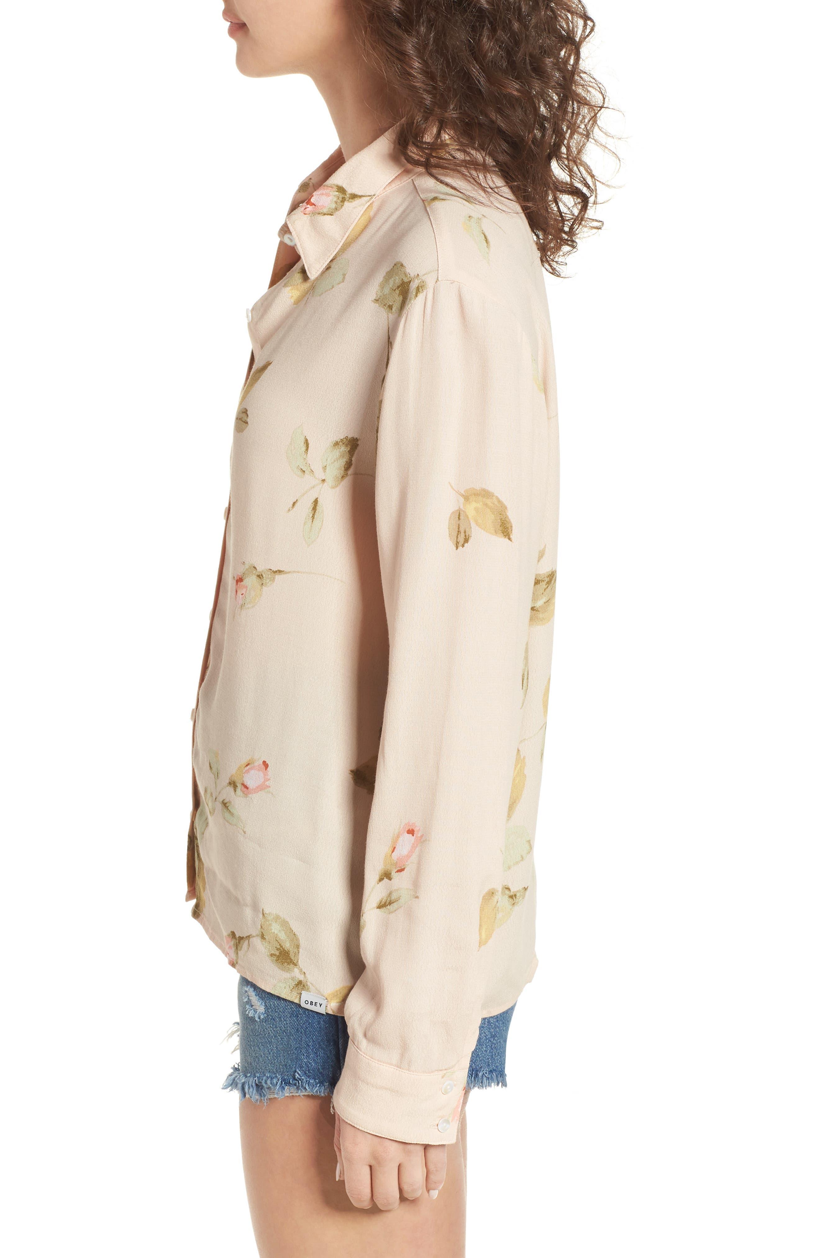 Sinclair Floral Print Shirt,                             Alternate thumbnail 3, color,                             250