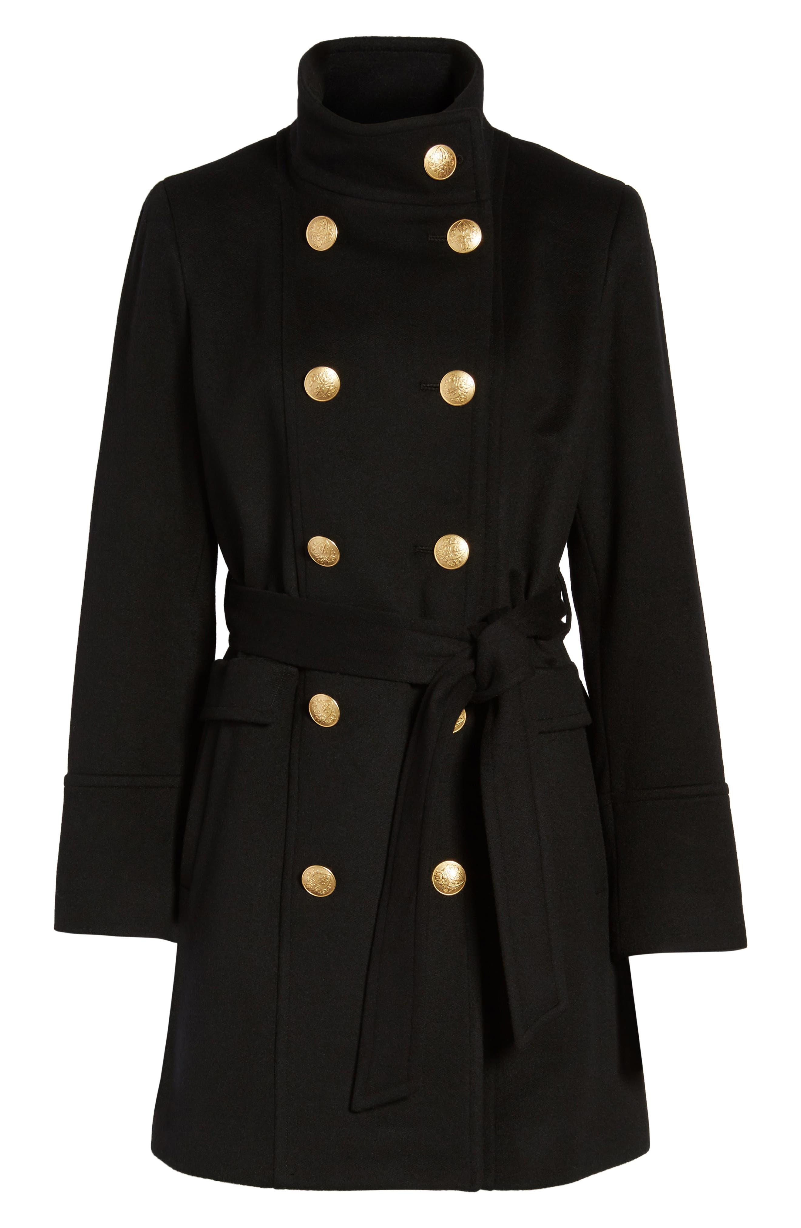 Wool & Cashmere Blend Military Coat,                             Alternate thumbnail 5, color,                             001