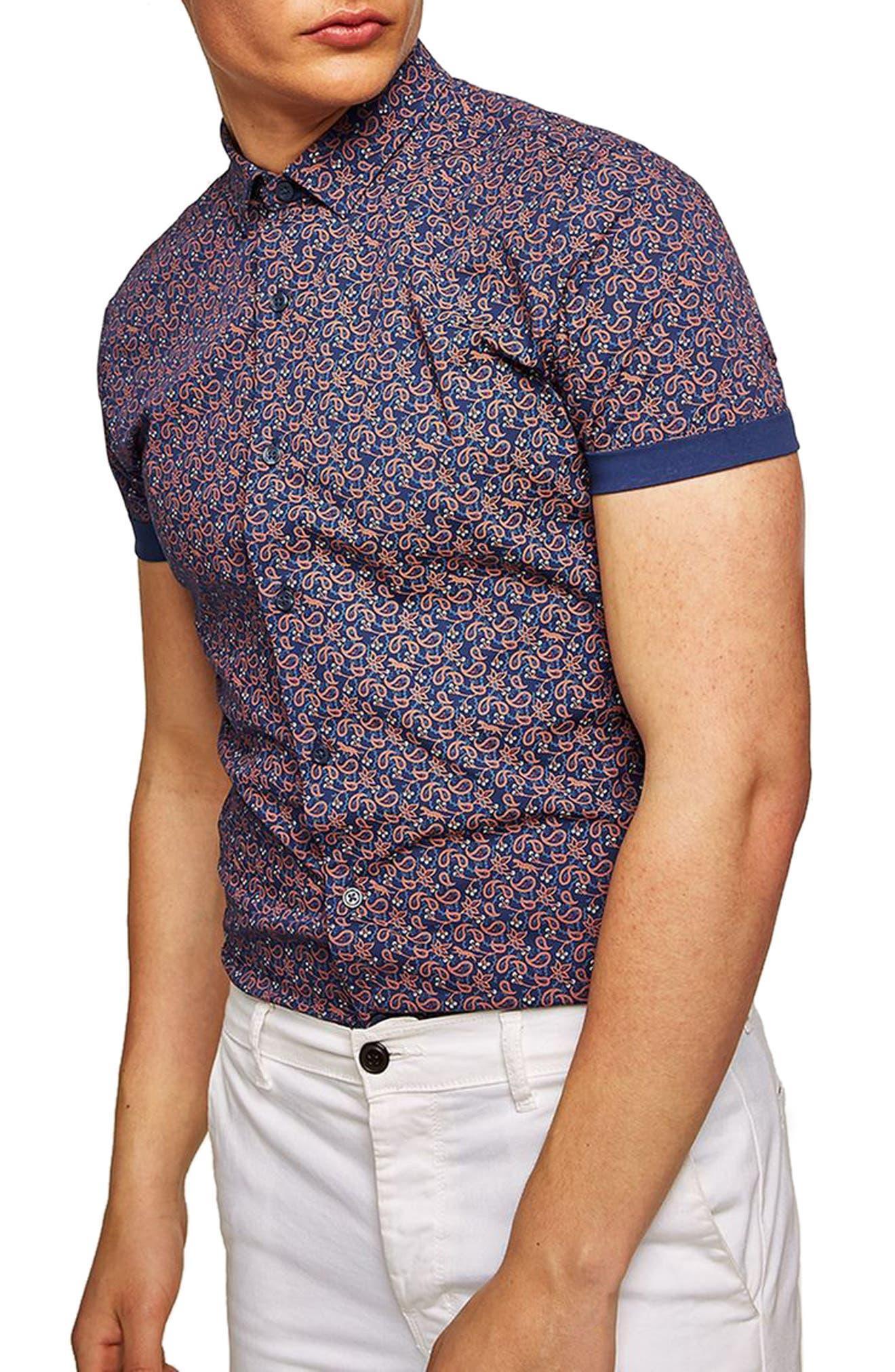 TOPMAN,                             Muscle Fit Eclectic Paisley Print Shirt,                             Main thumbnail 1, color,                             400