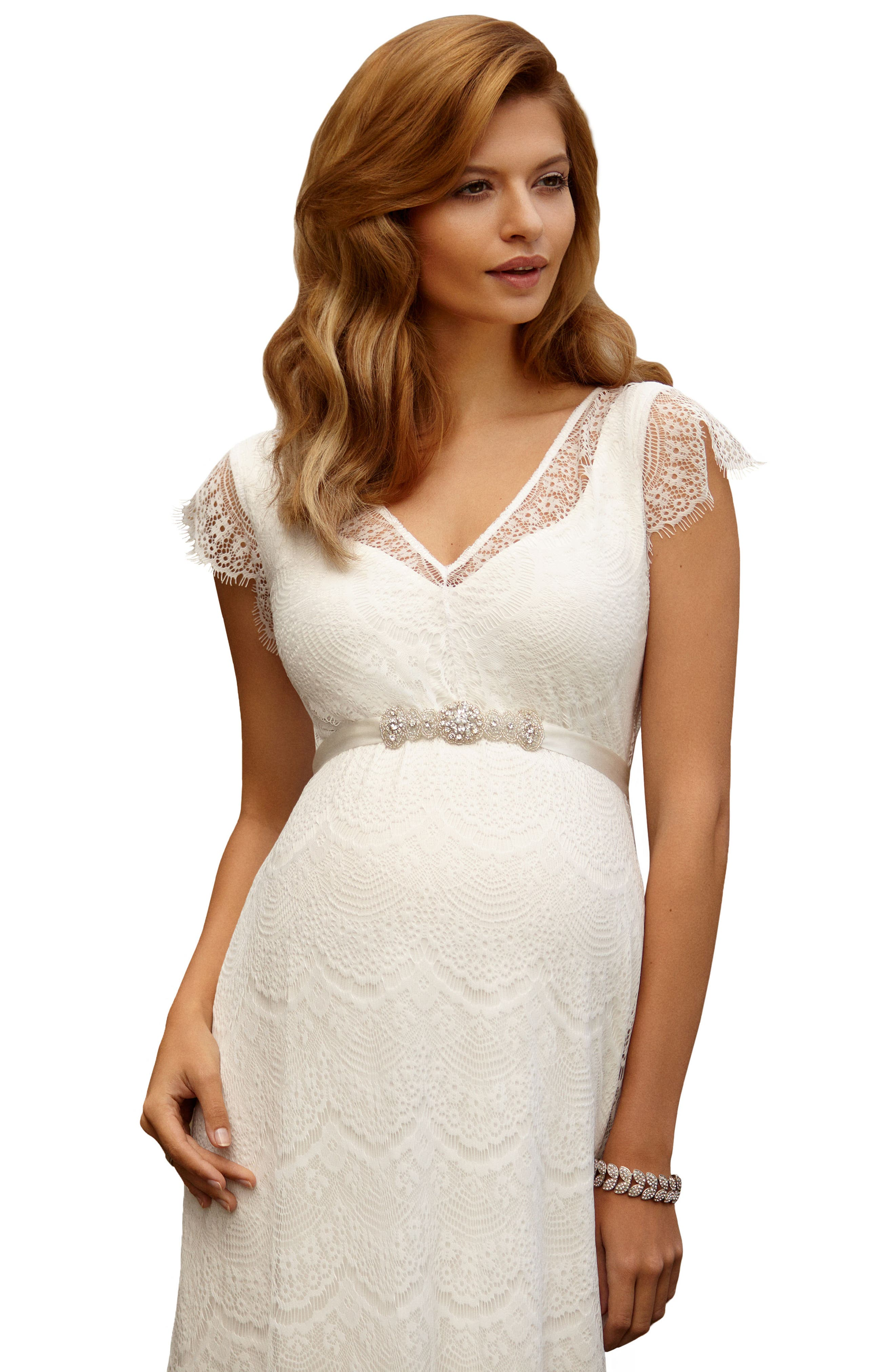 Kristin Long Lace Maternity Gown,                             Alternate thumbnail 5, color,                             IVORY