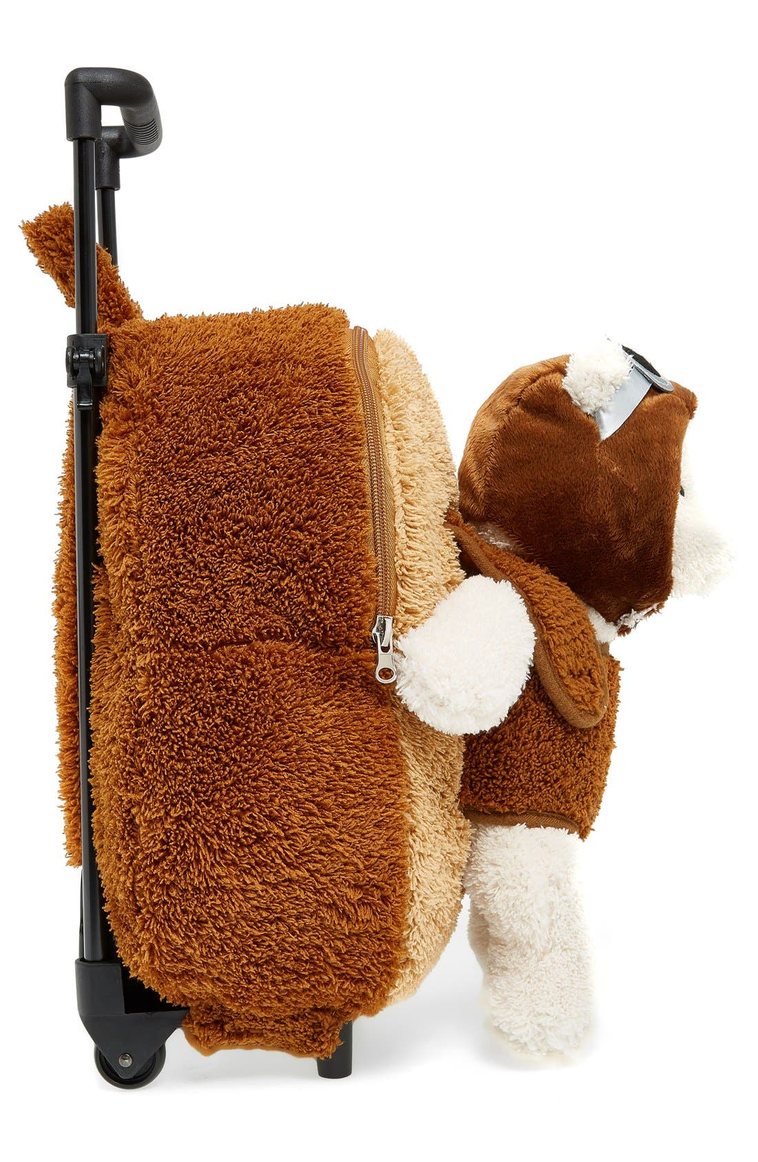 'Aviator Bear' Rolling Backpack,                             Alternate thumbnail 4, color,                             BROWN