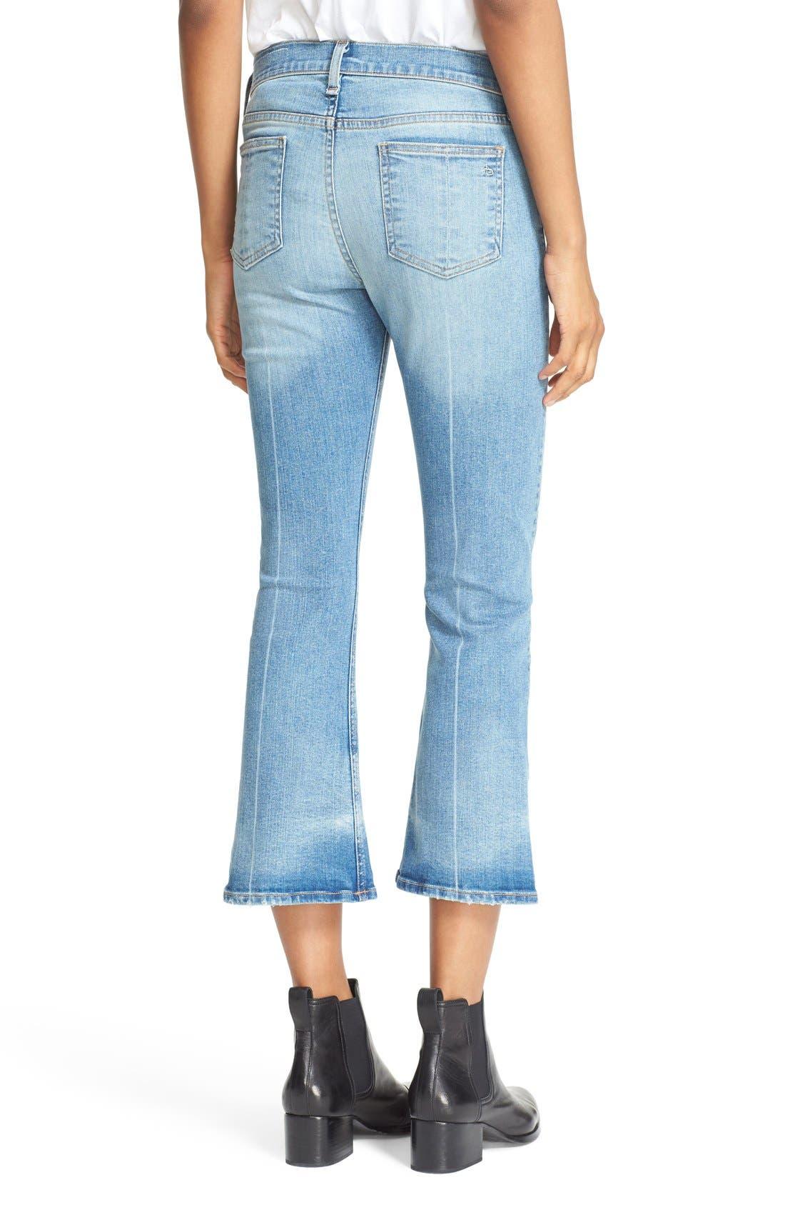 RAG & BONE,                             JEAN Distressed Crop Flare Jeans,                             Alternate thumbnail 6, color,                             451