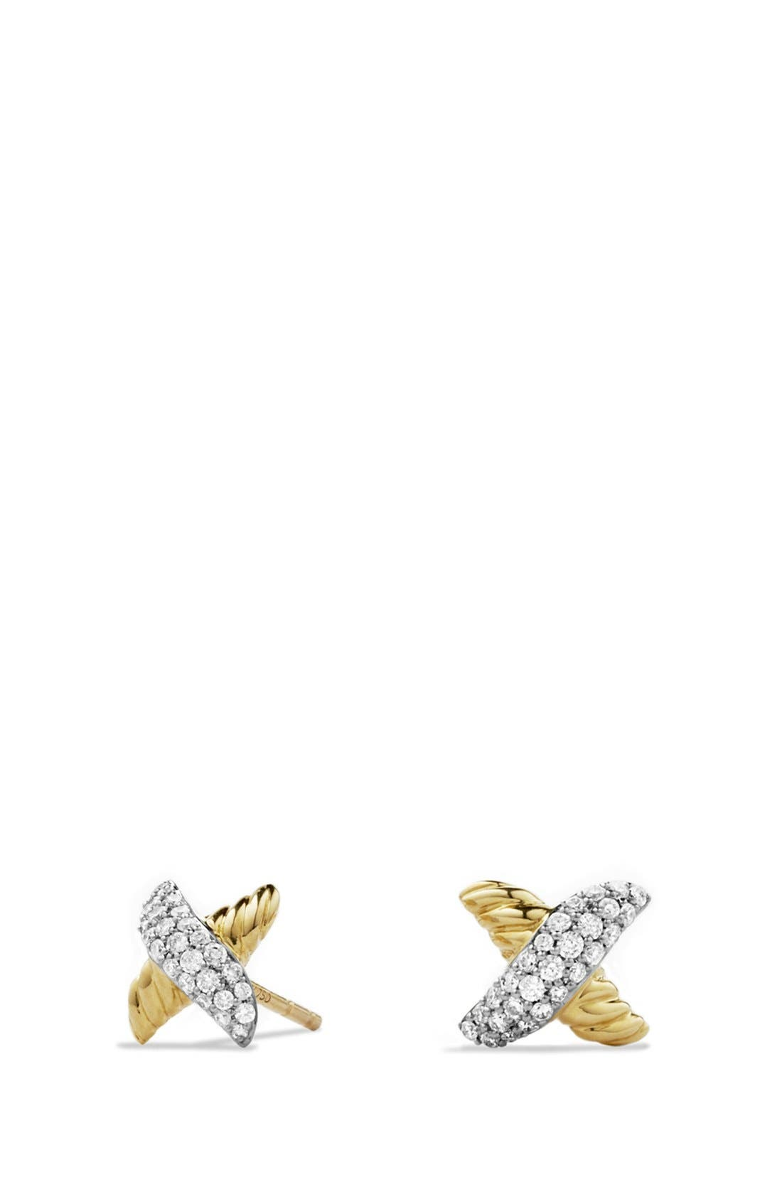 'X' Petite Earrings with Diamonds and Gold,                         Main,                         color, DIAMOND