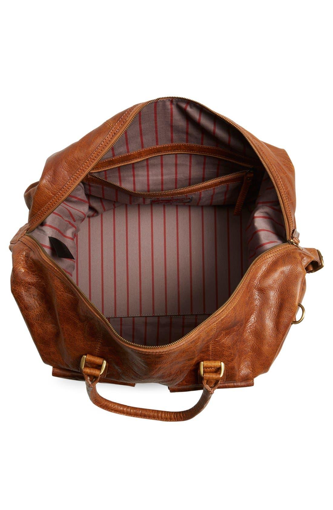 'Rugged' Leather Duffel Bag,                             Alternate thumbnail 2, color,                             COGNAC