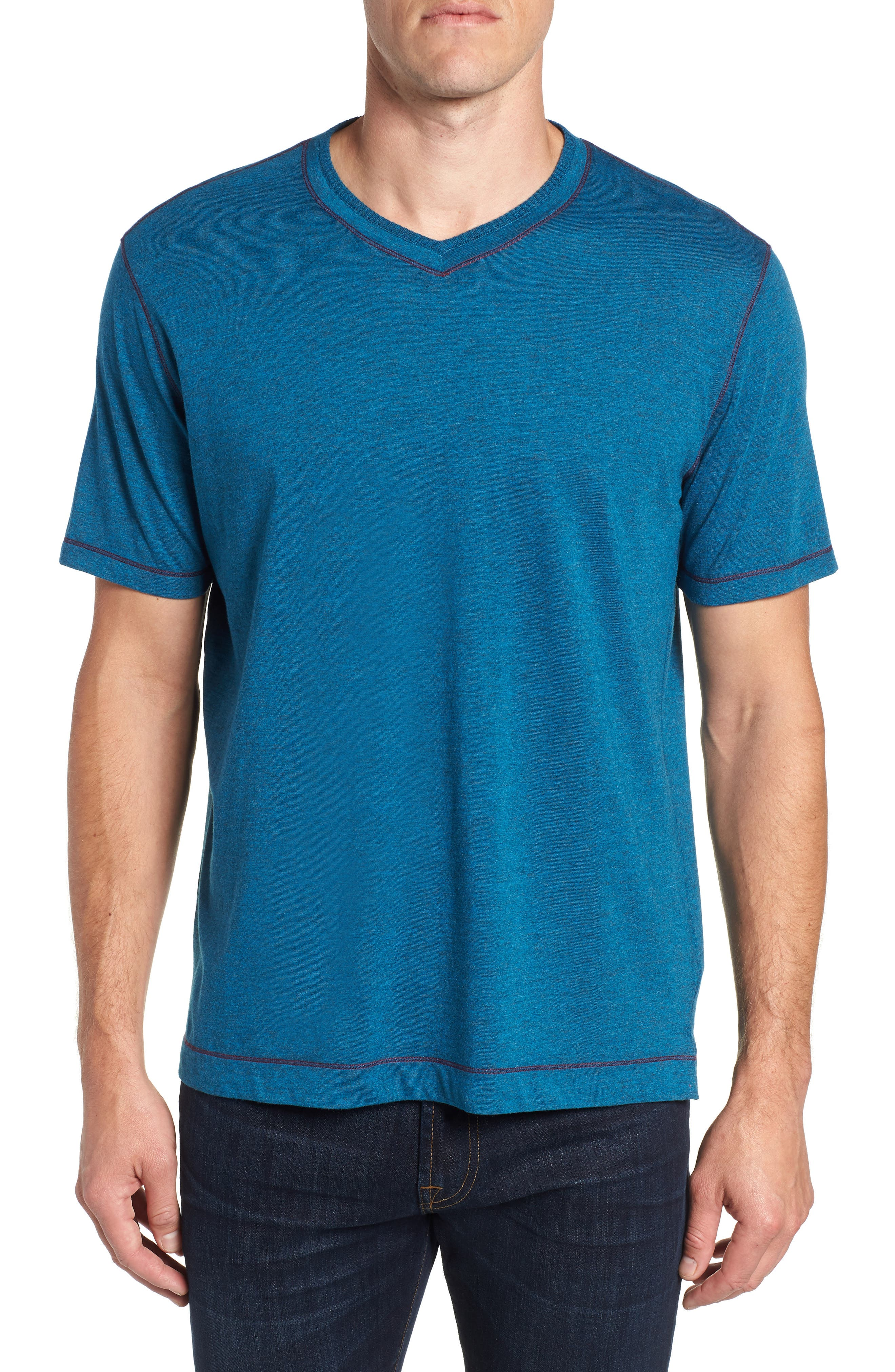 Traveler V-Neck T-Shirt,                         Main,                         color, DARK TEAL