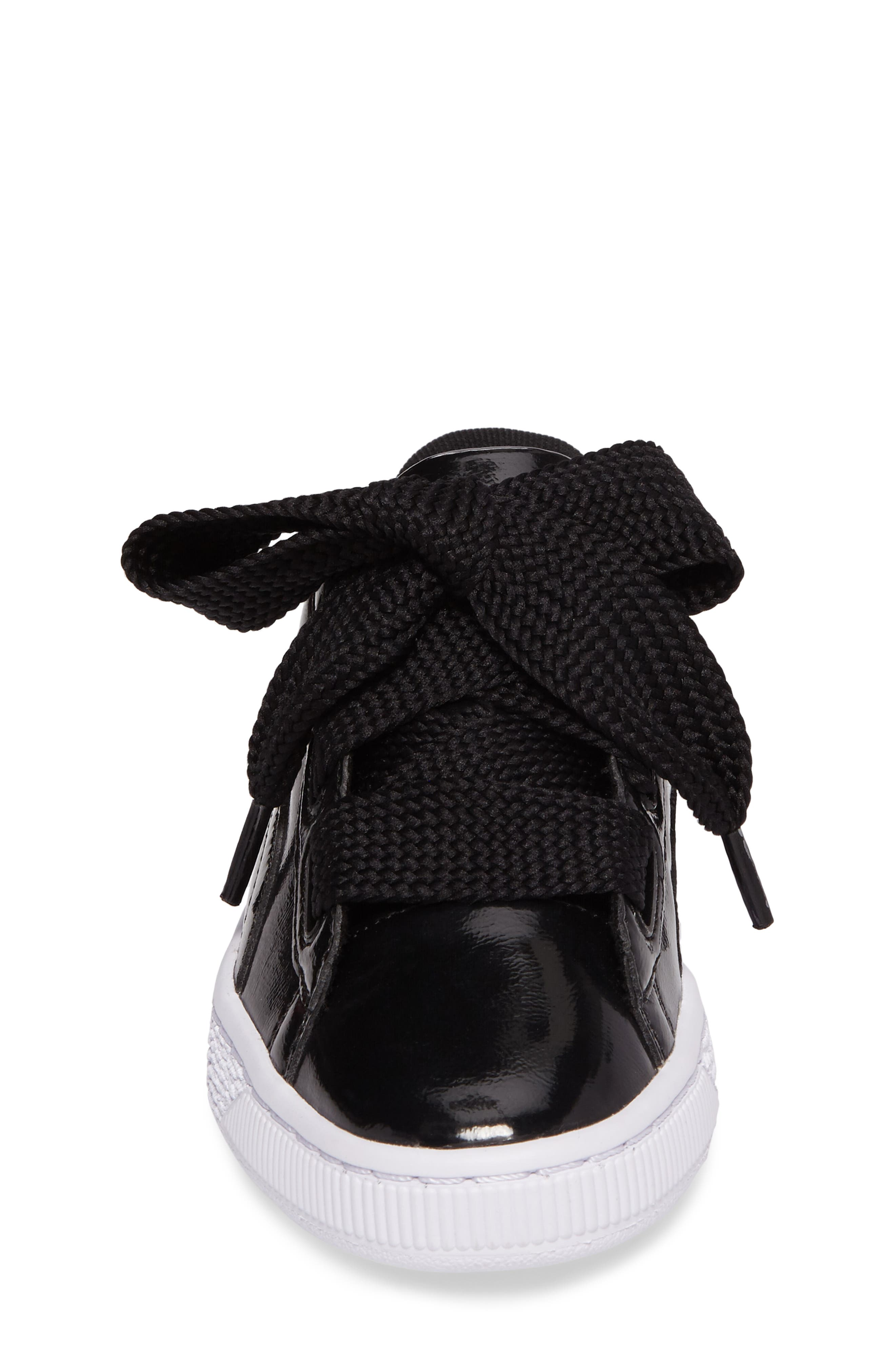 Basket Heart Glam Sneaker,                             Alternate thumbnail 4, color,                             001