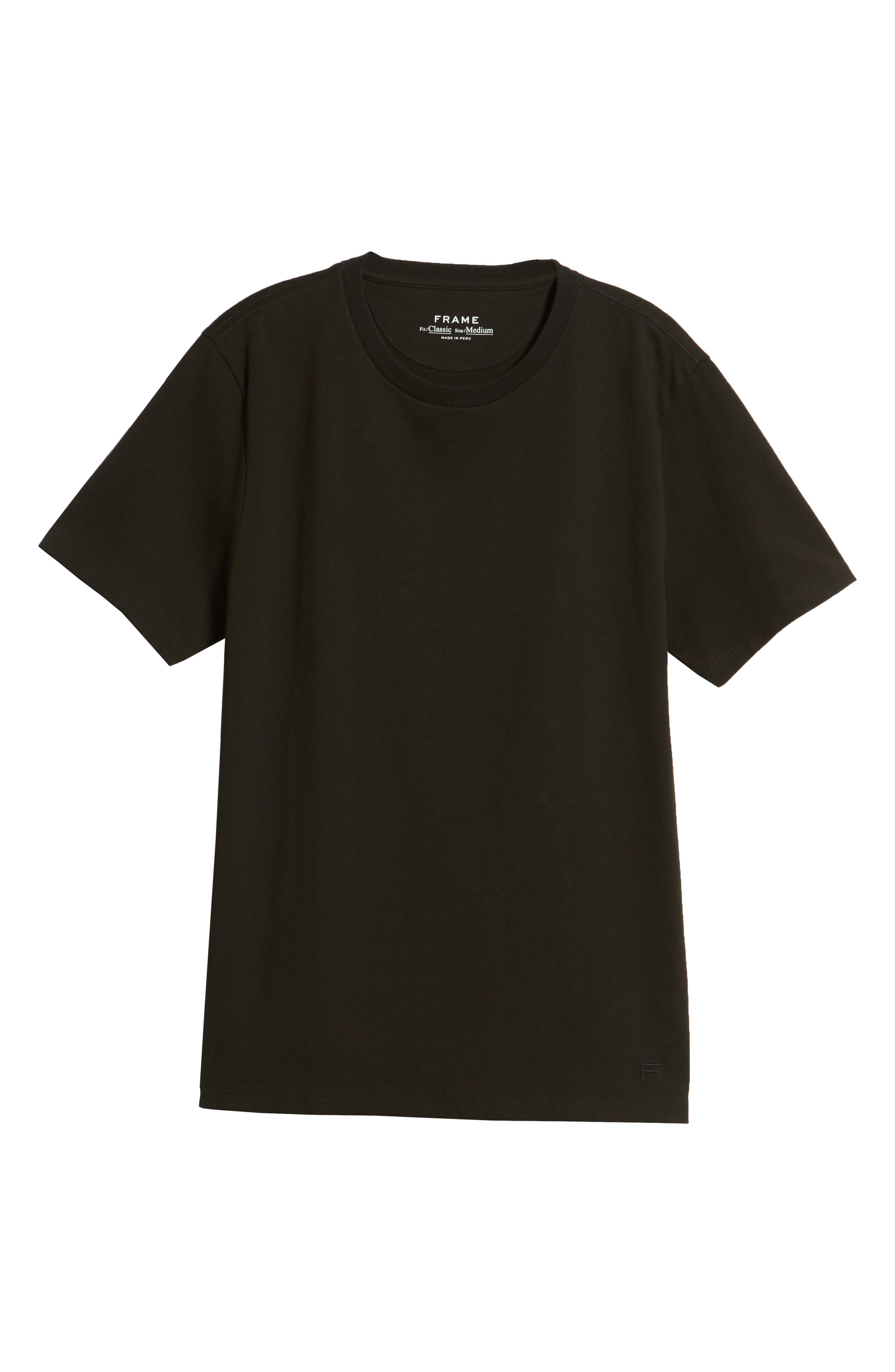 Classic Fit Cotton T-Shirt,                             Alternate thumbnail 6, color,                             NOIR