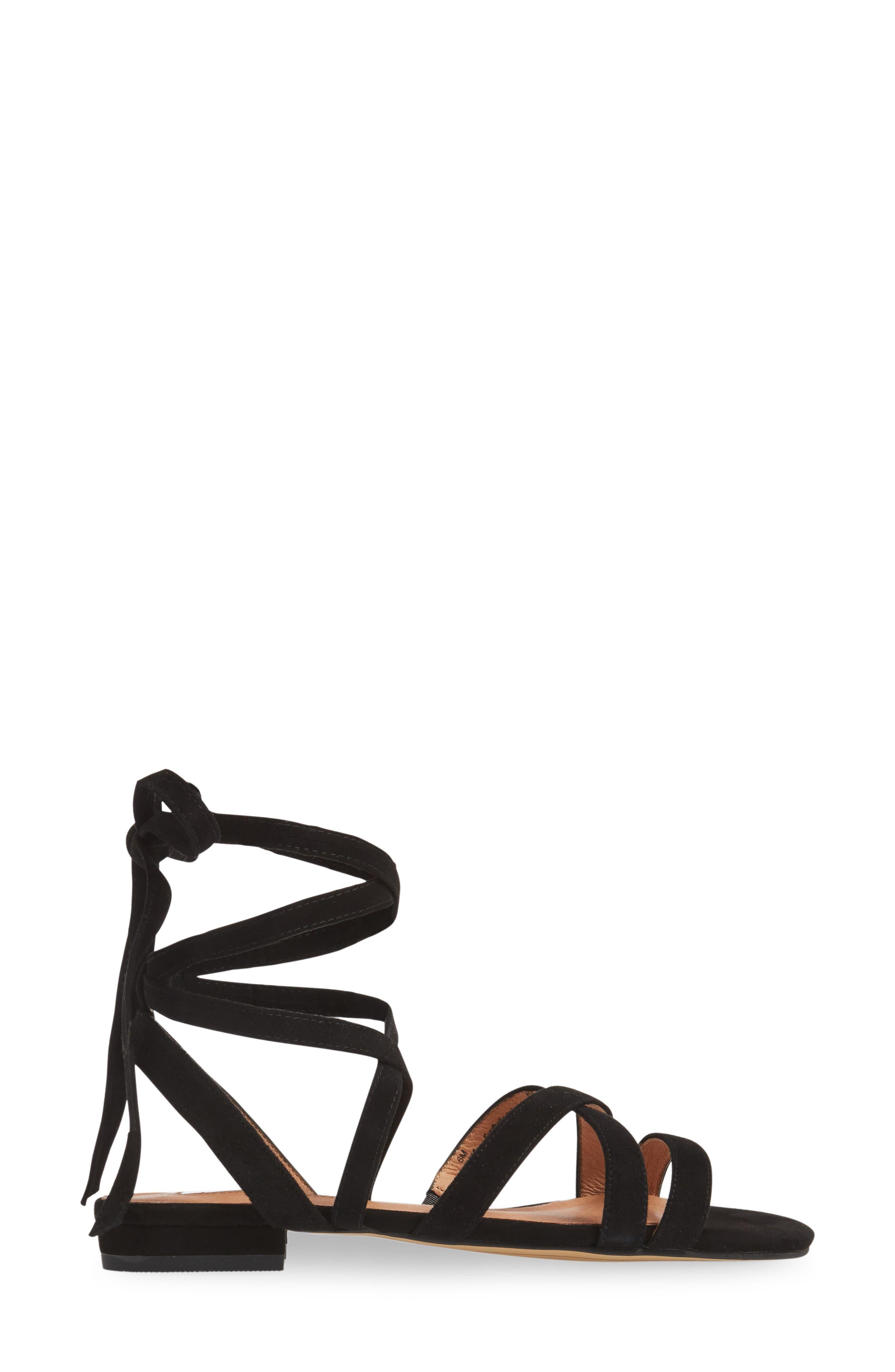 Frances Ankle Wrap Sandal,                             Alternate thumbnail 3, color,                             001