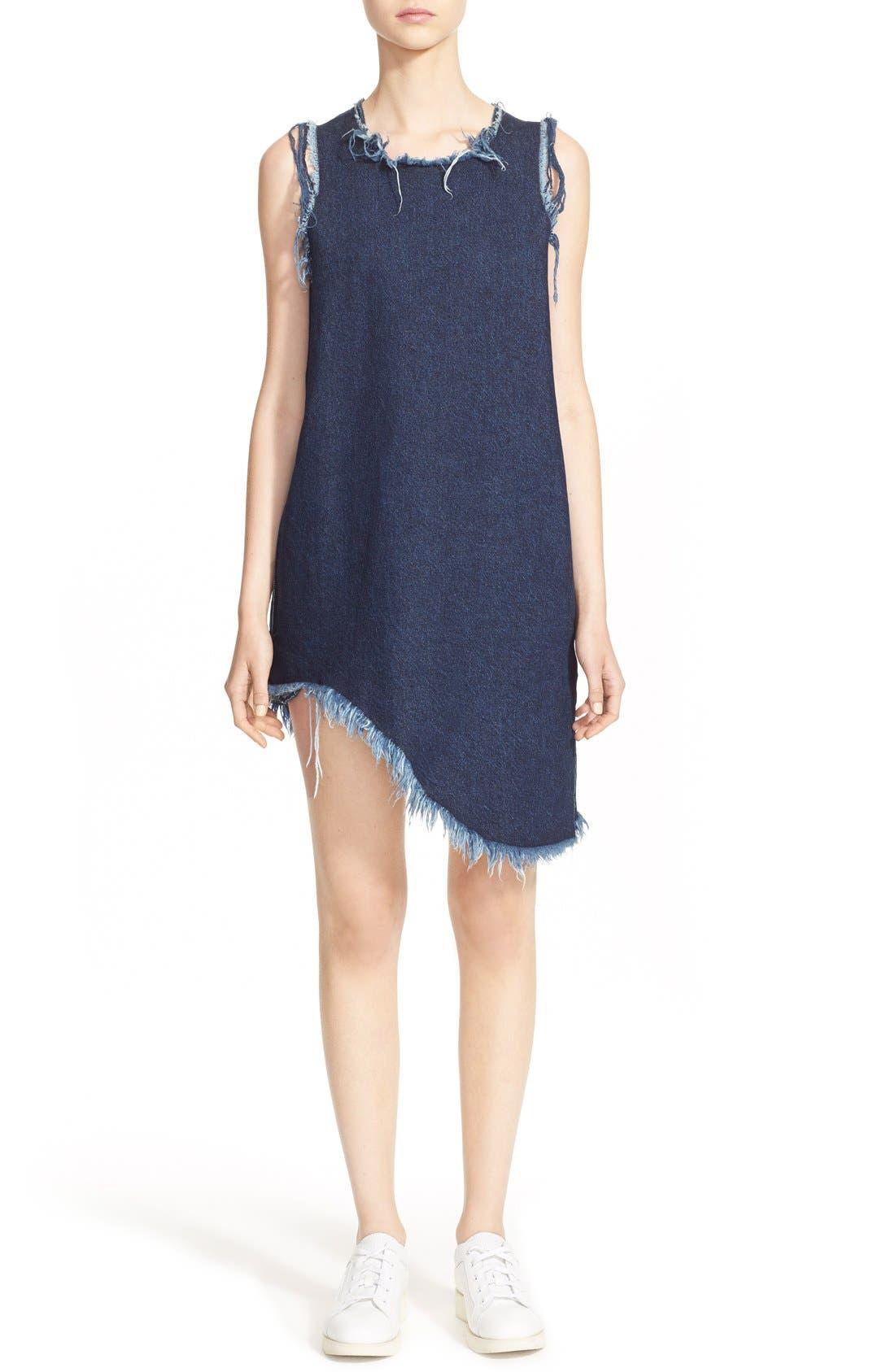 MARQUES'ALMEIDA Marques'Almeida Asymmetrical Denim Shift Dress, Main, color, 401