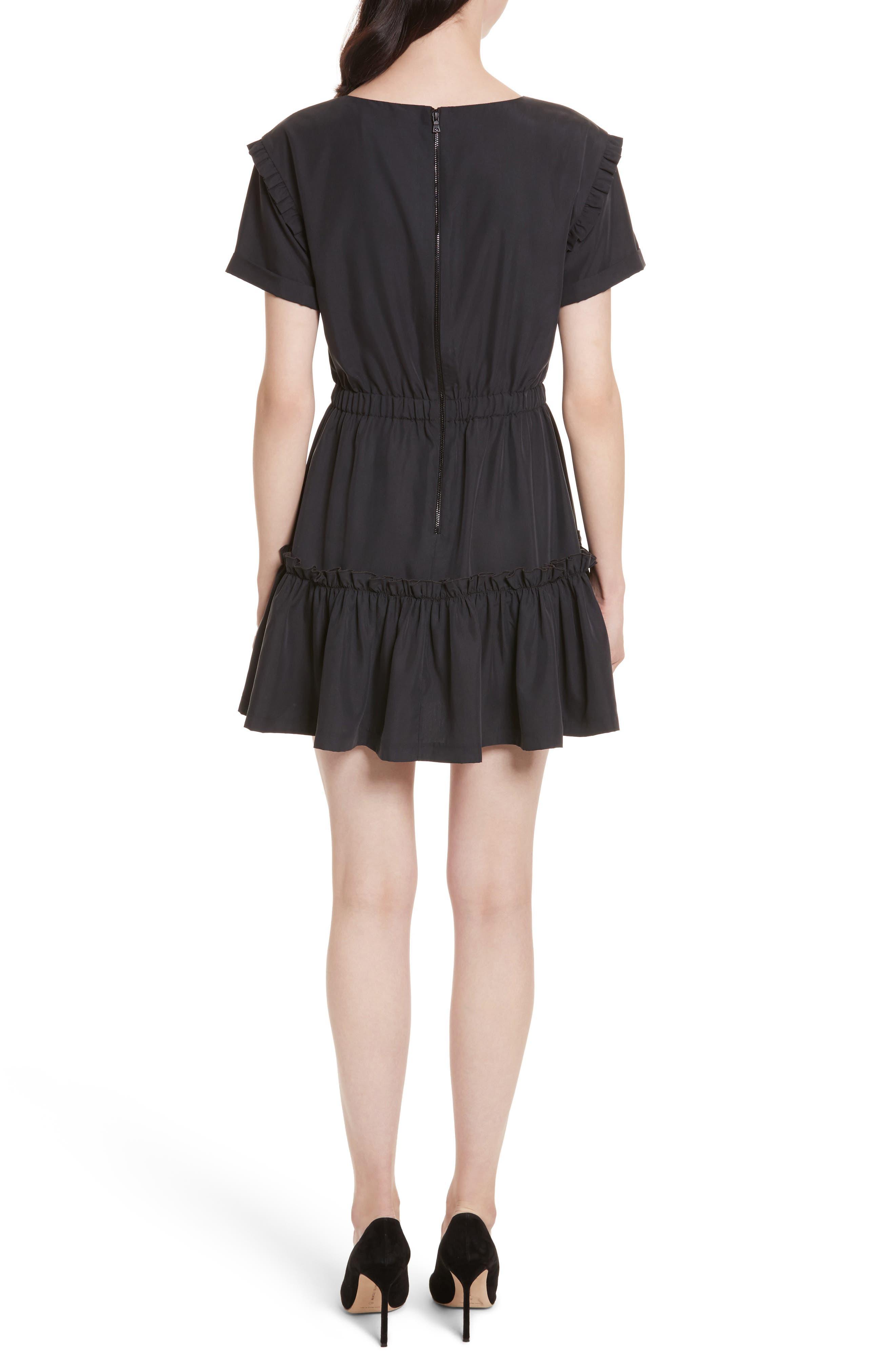 Garner Drop Shoulder Flounce Dress,                             Alternate thumbnail 2, color,                             001