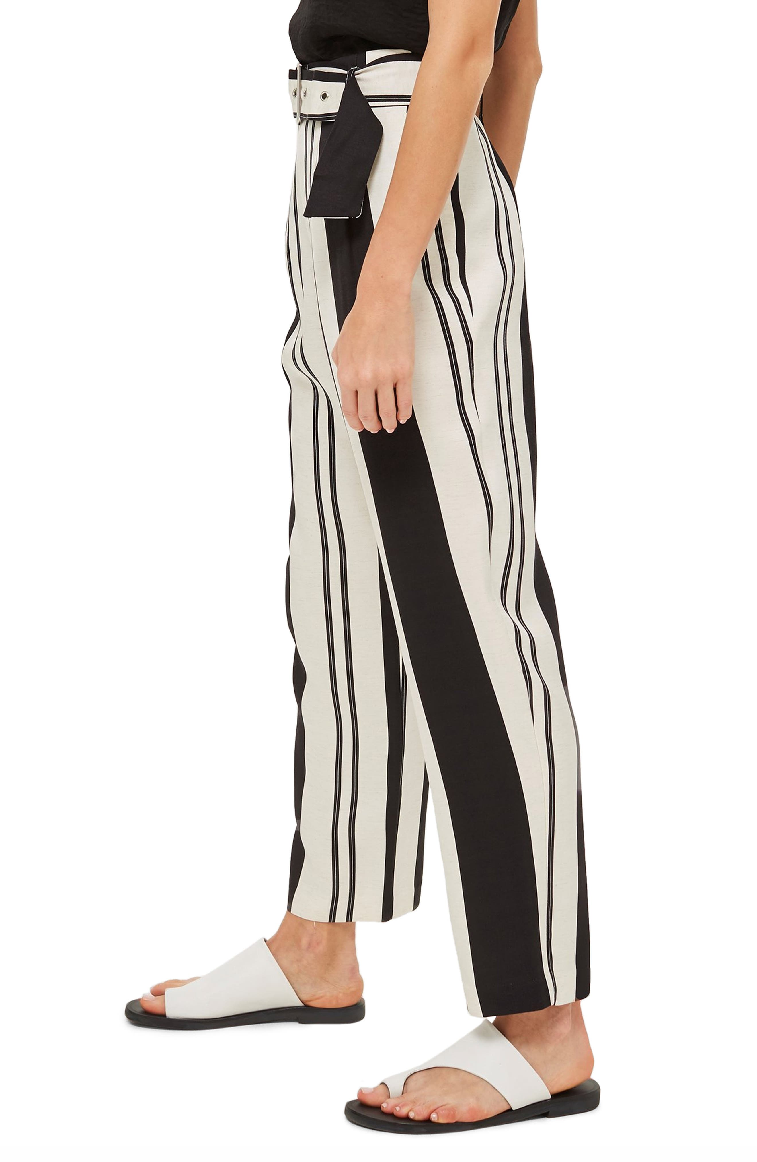 Dolly Stripe Tapered Trousers,                             Alternate thumbnail 3, color,                             BLACK MULTI