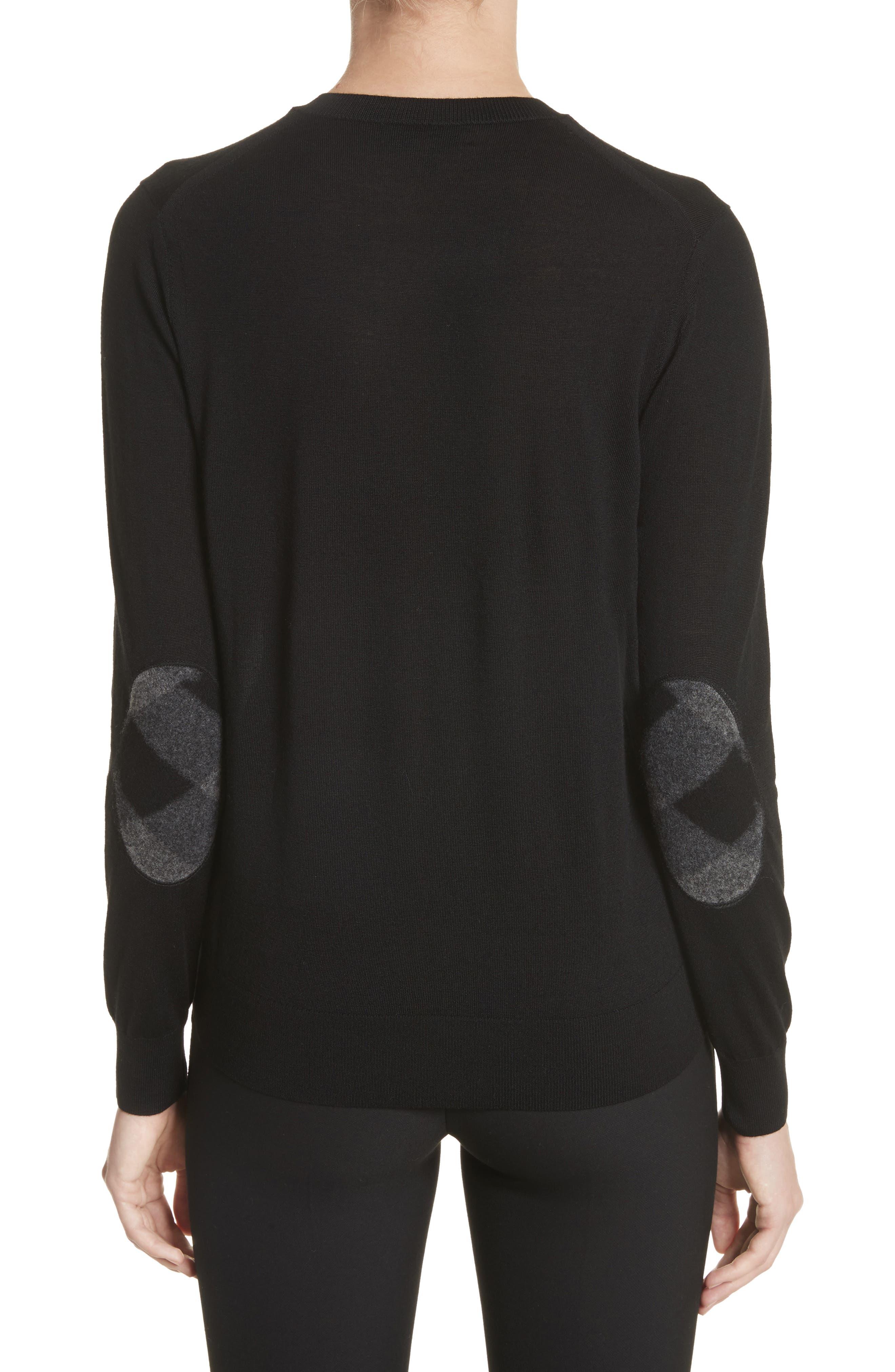BURBERRY,                             Viar Merino Wool Sweater,                             Alternate thumbnail 2, color,                             001
