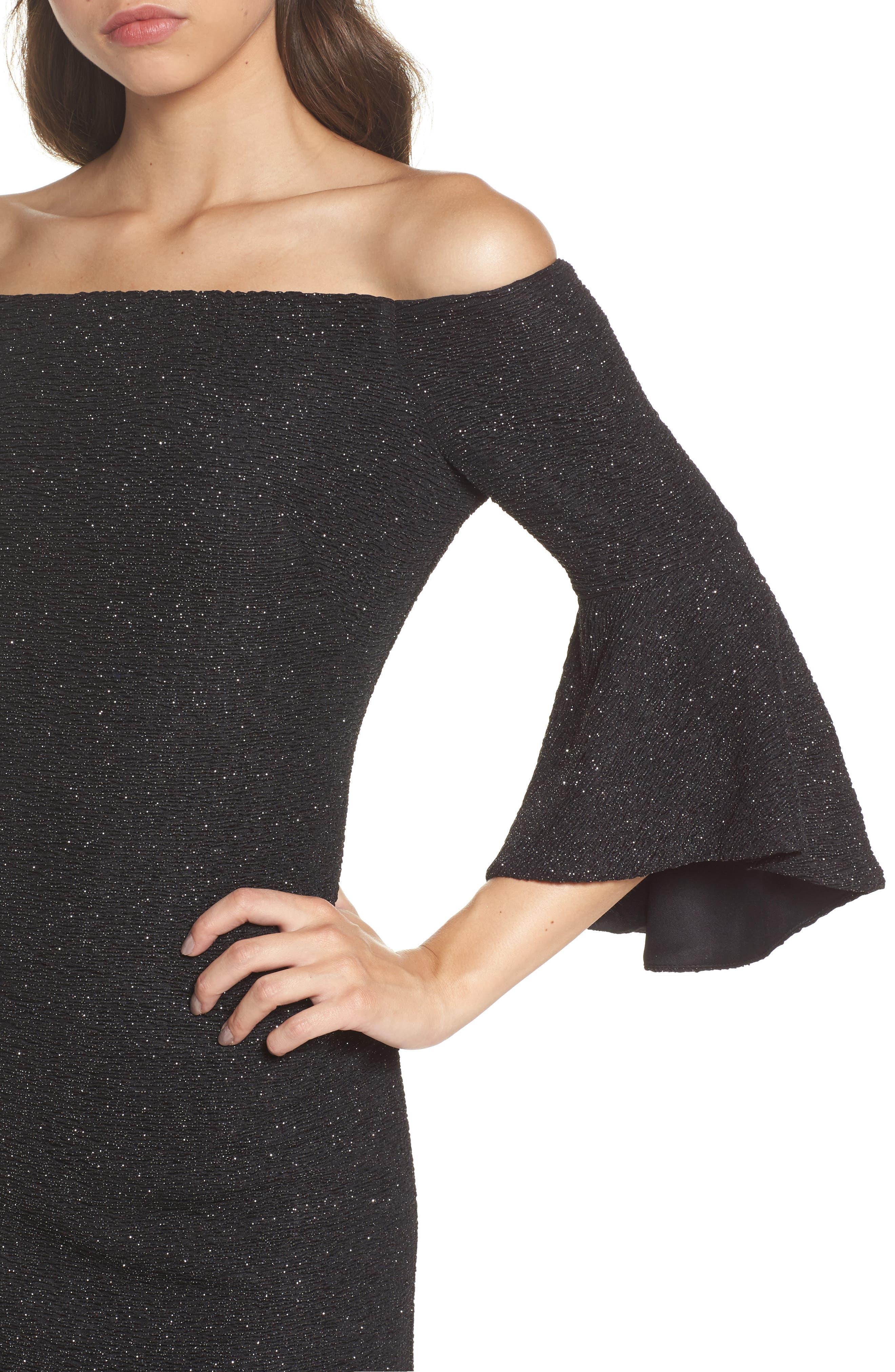 Off the Shoulder Bell Sleeve Sheath Dress,                             Alternate thumbnail 4, color,                             046